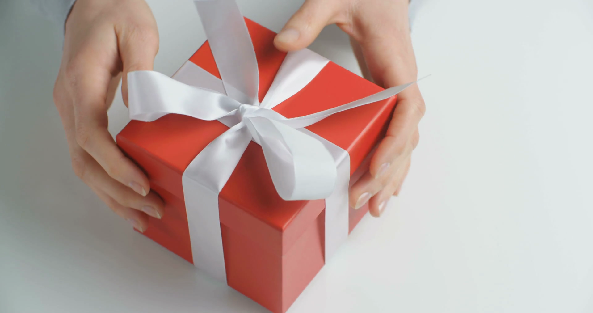 Female hands open a red gift box. Closeup shot. Stock Video Footage ...