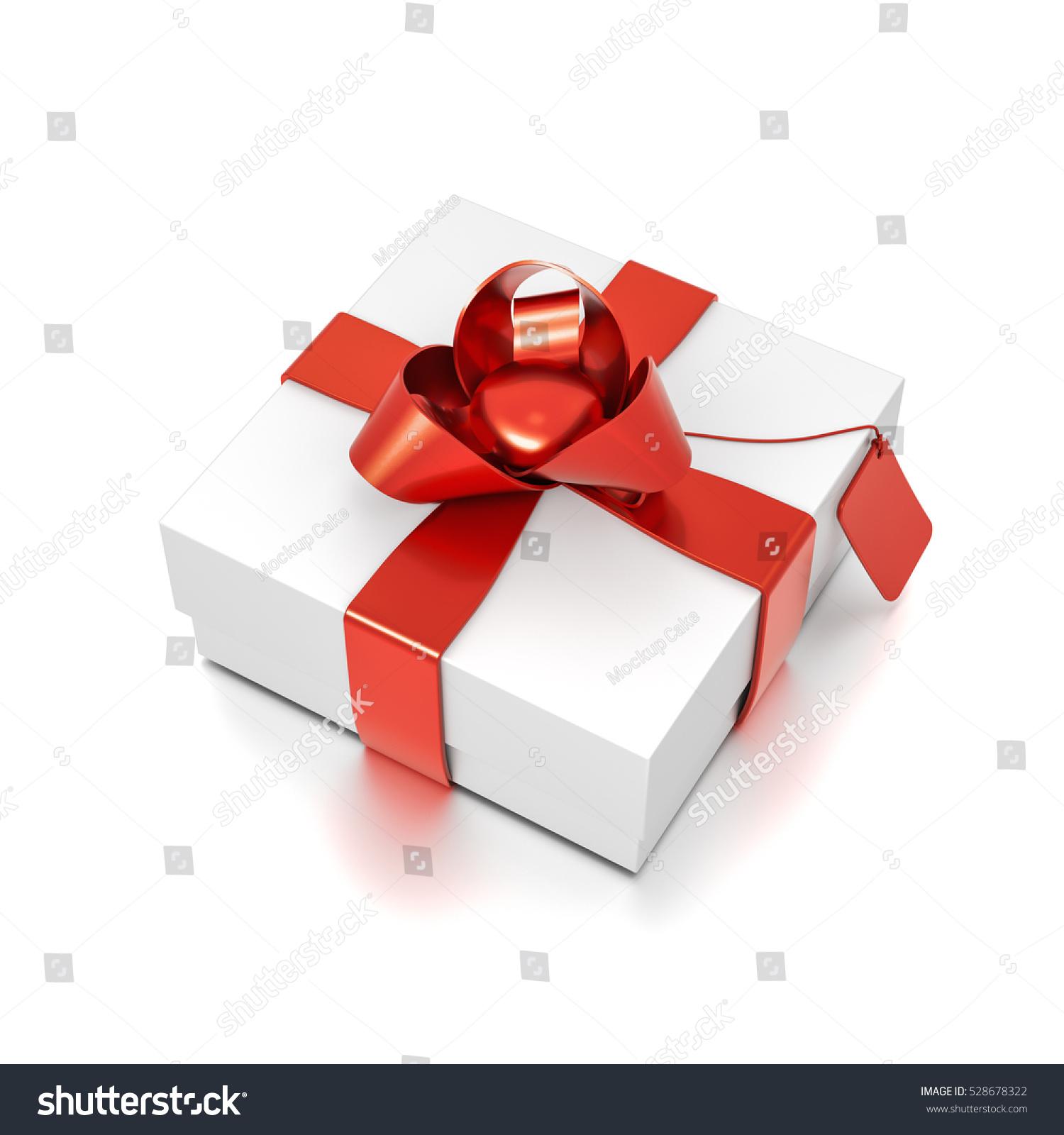 White Gift Box Red Ribbon Bow Stock Illustration 528678322 ...