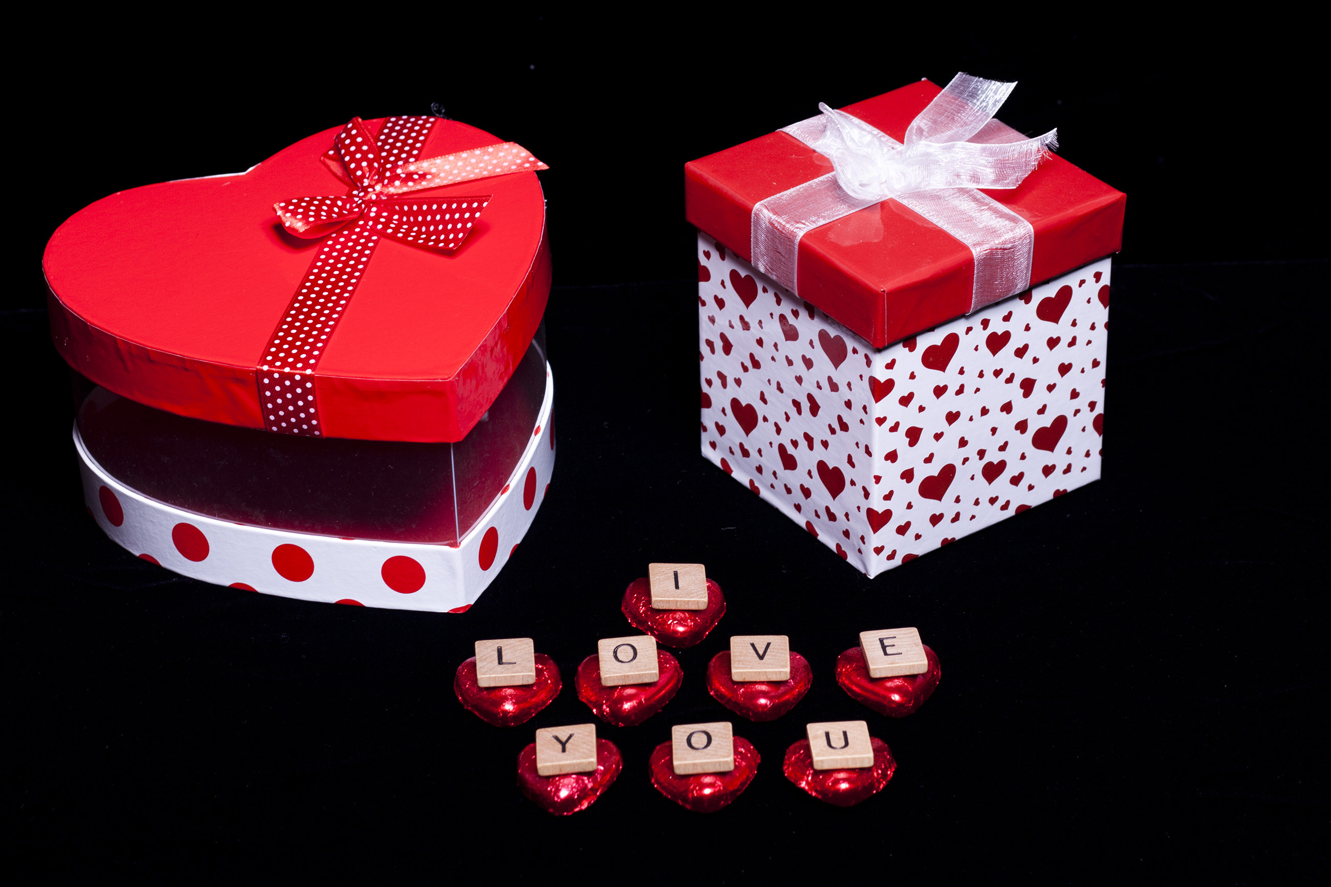 Gift boxes with I Love You, Patterned, Present, Red, Paper, HQ Photo