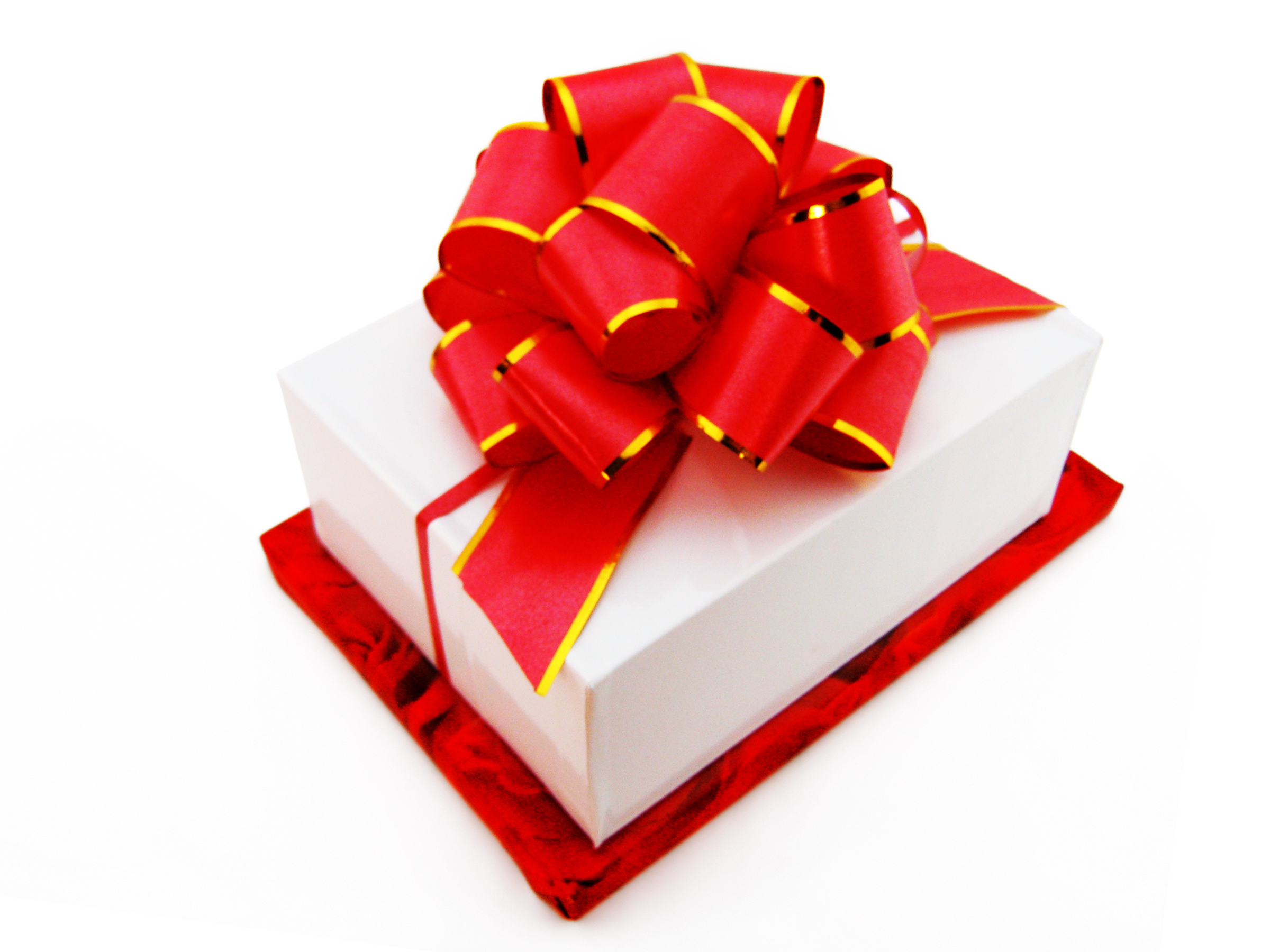 Gift with a red bow photo
