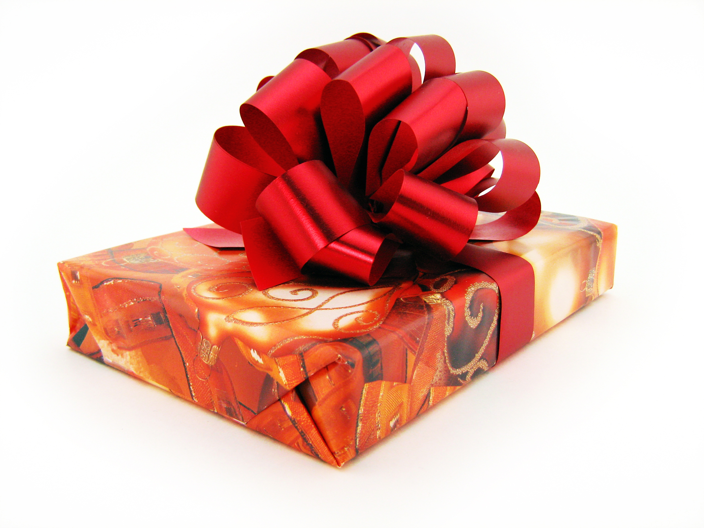 Gift with red bow photo