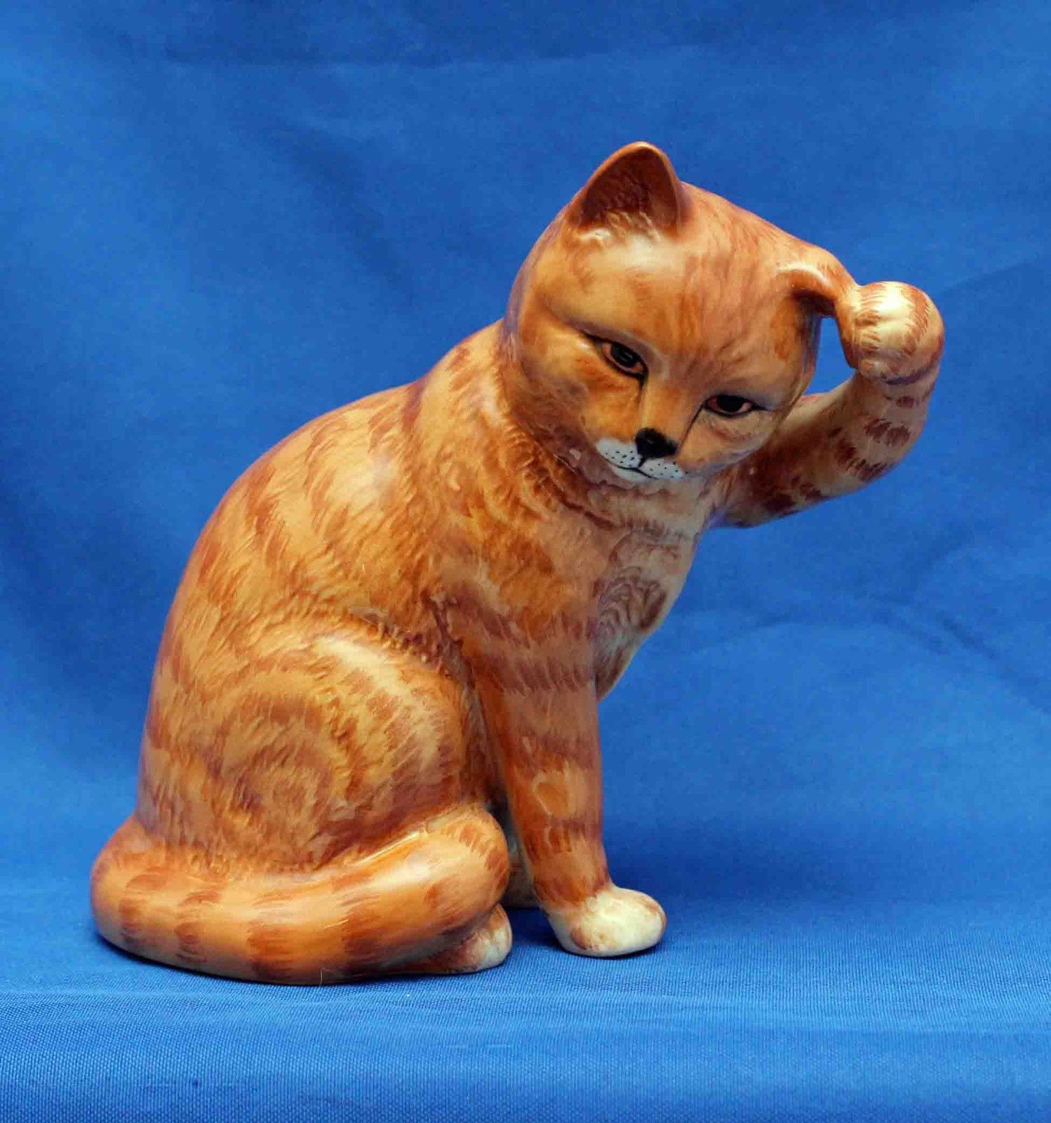 Beswick Ginger Swiss roll Cat Seated Scratching Ear Model 1877 ...