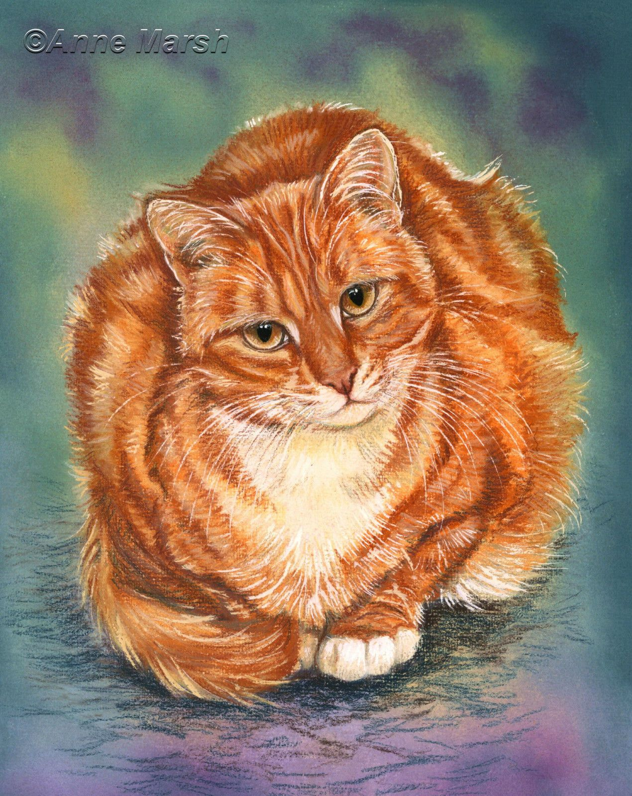 GINGER CAT SUSIE LIMITED EDITION PRINT OF PAINTING ANNE MARSH ART ...