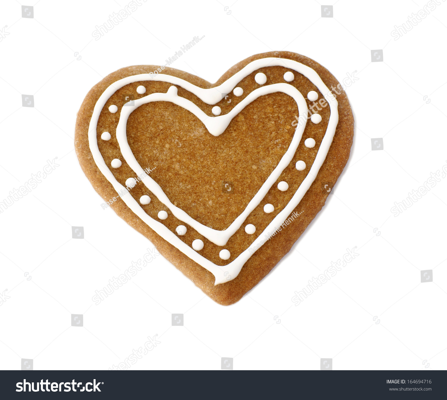 Gingerbread Heart Cookie Decorated Christmas On Stock Photo ...