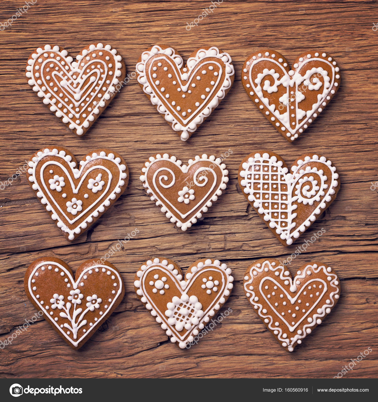 Gingerbread heart cookies — Stock Photo © egal #160560916
