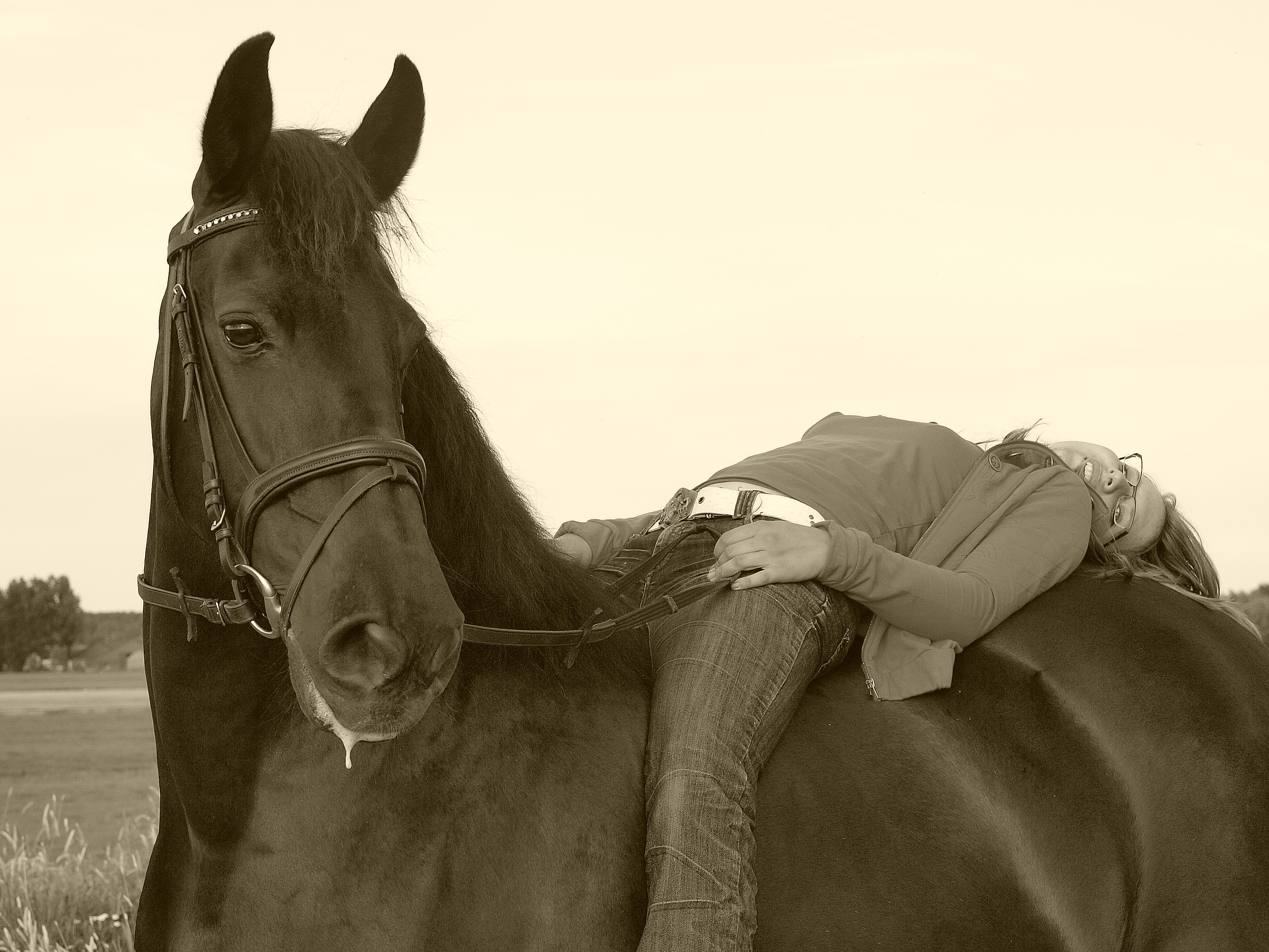 Girl and her horse photo