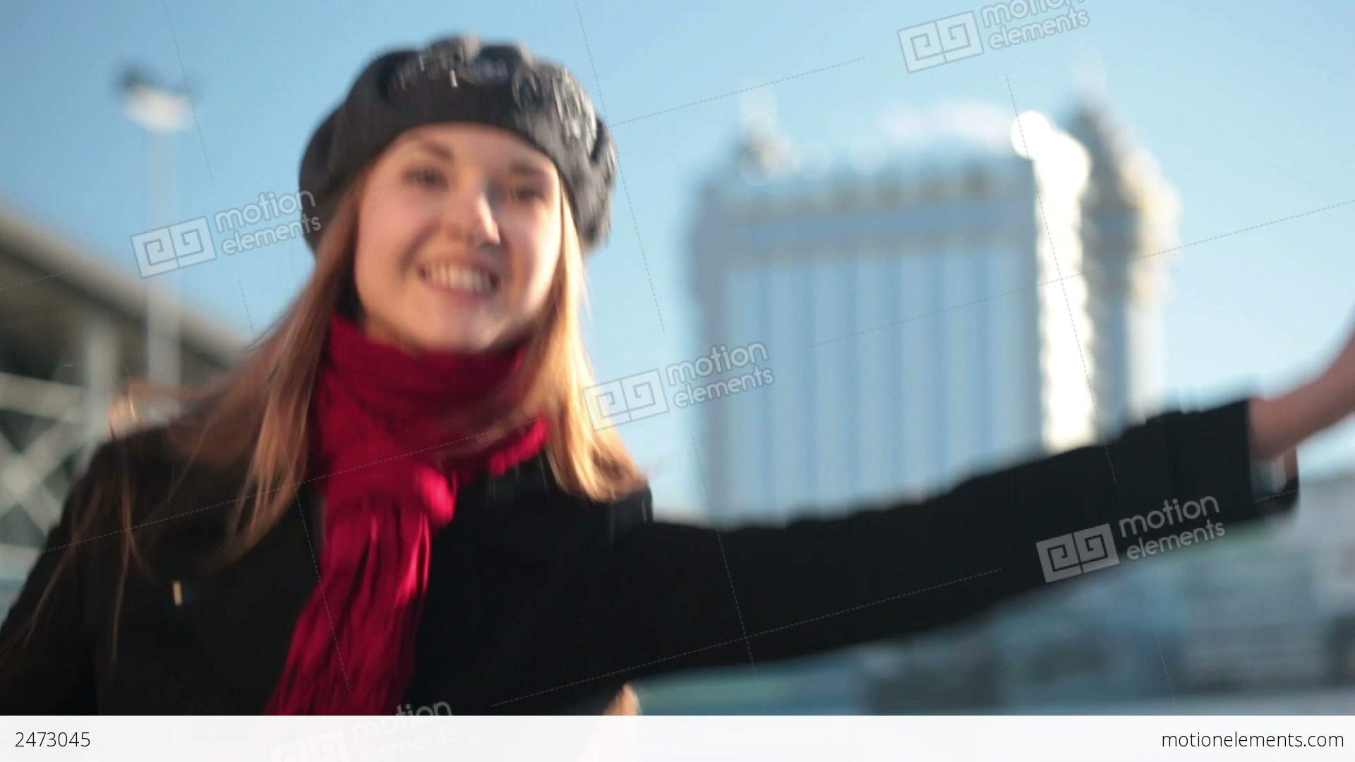 Close-up Of A Girl Calling A Taxi Stock video footage | 2473045