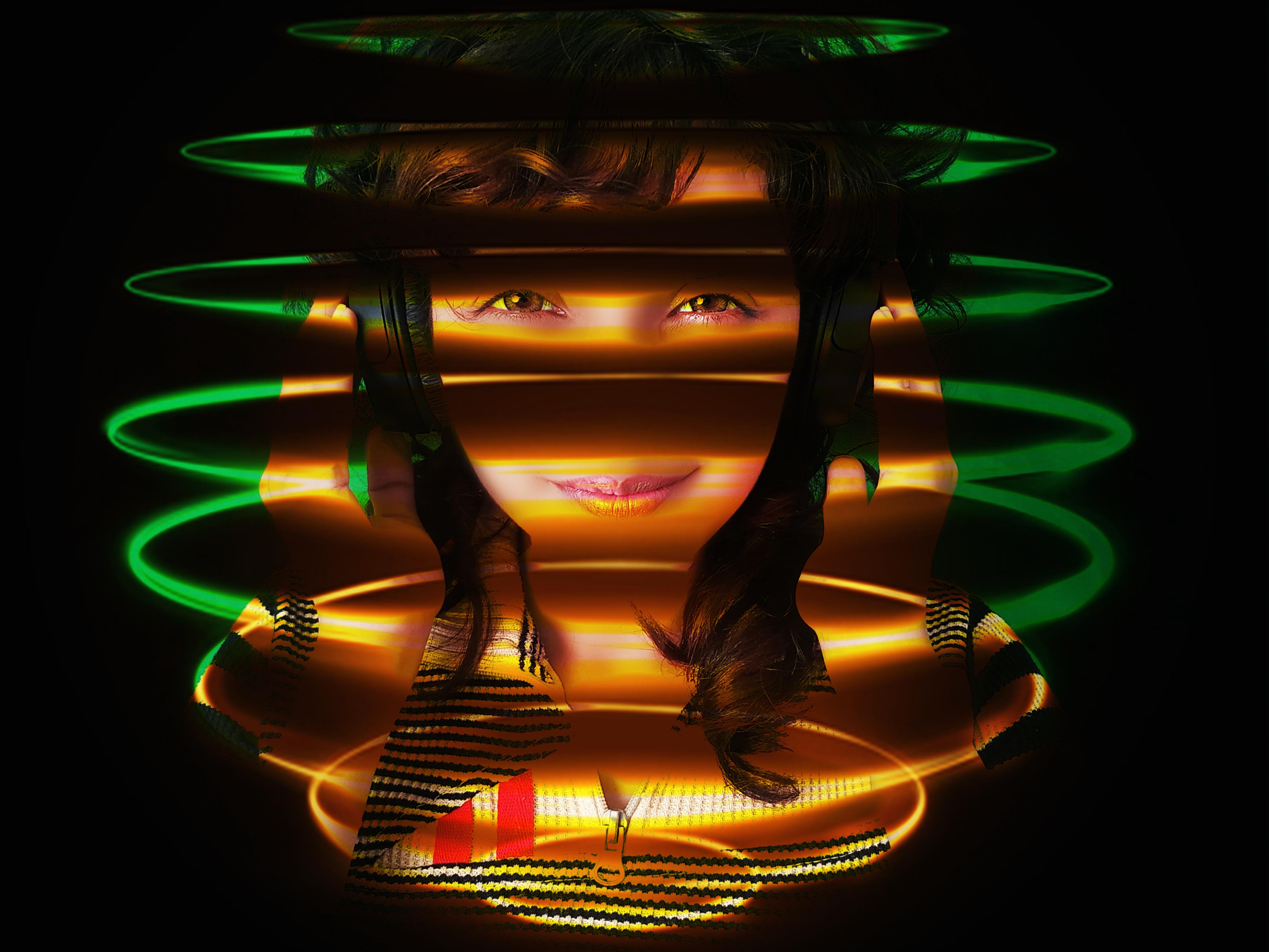 Girl dj with headphones enjoying in neon spiral rings, Girl dj with headphones enjoying in neon spiral rings