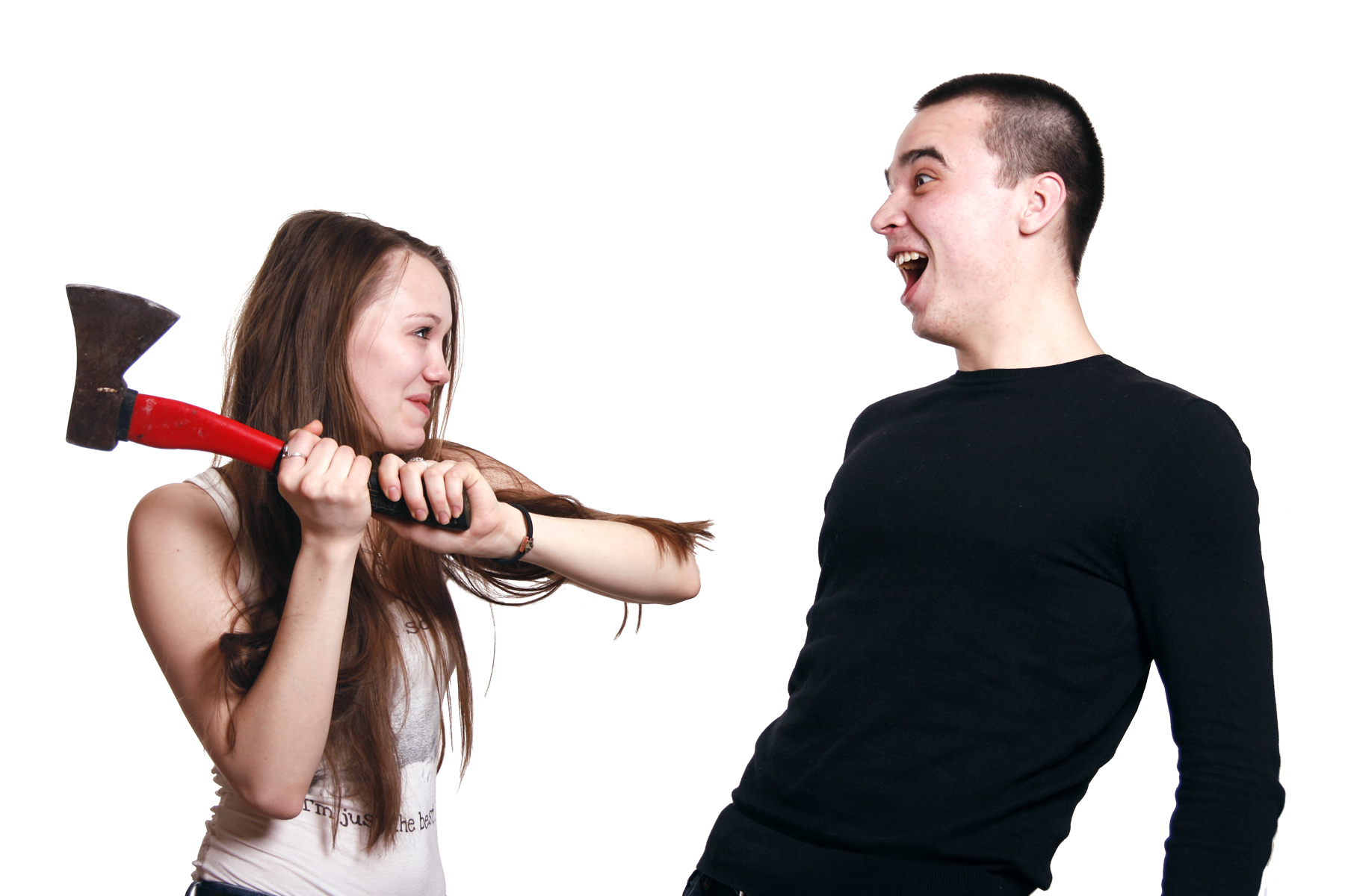 Girl holding red axe photo