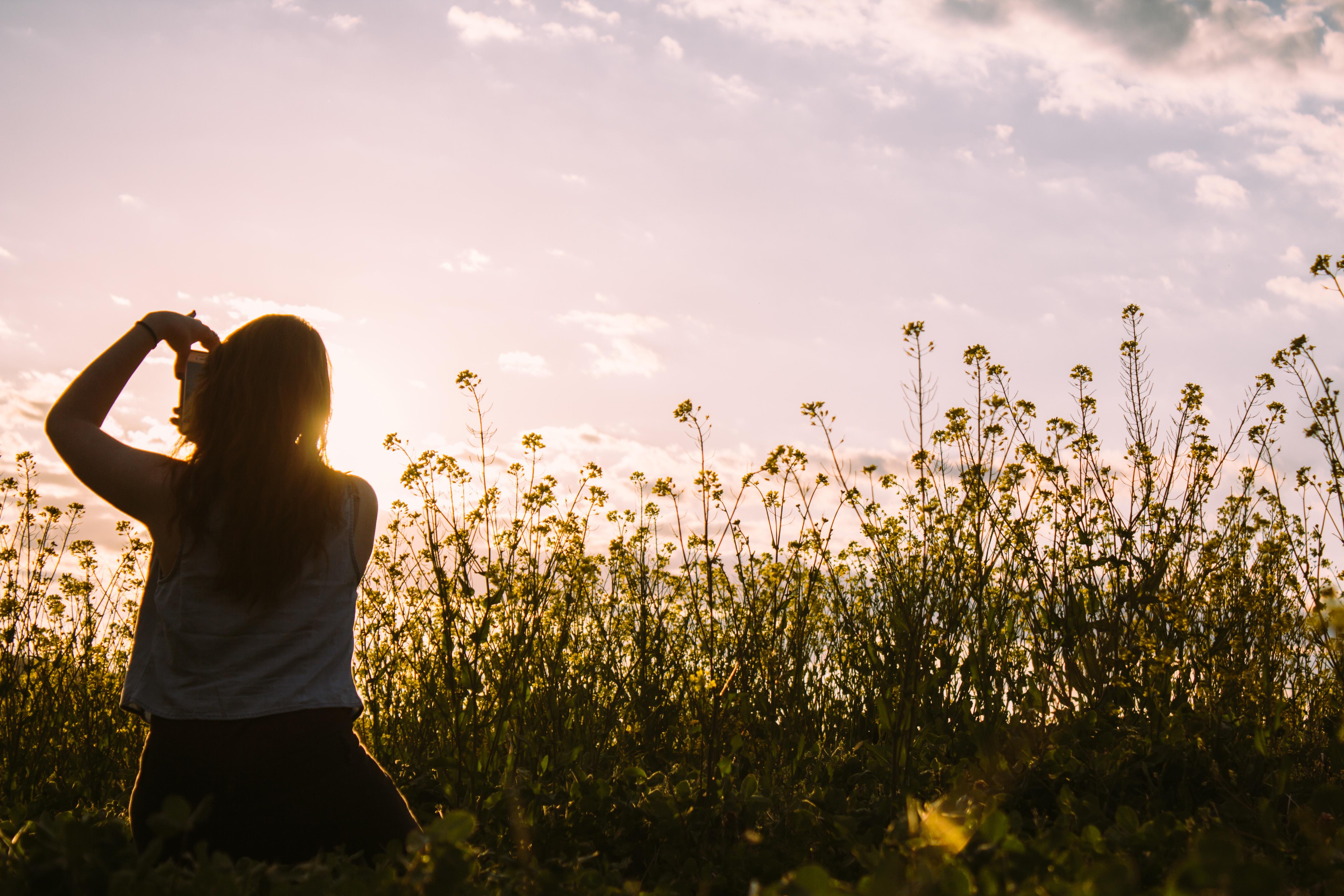Girl in a field, Field, Flowers, Girl, Mobile, HQ Photo