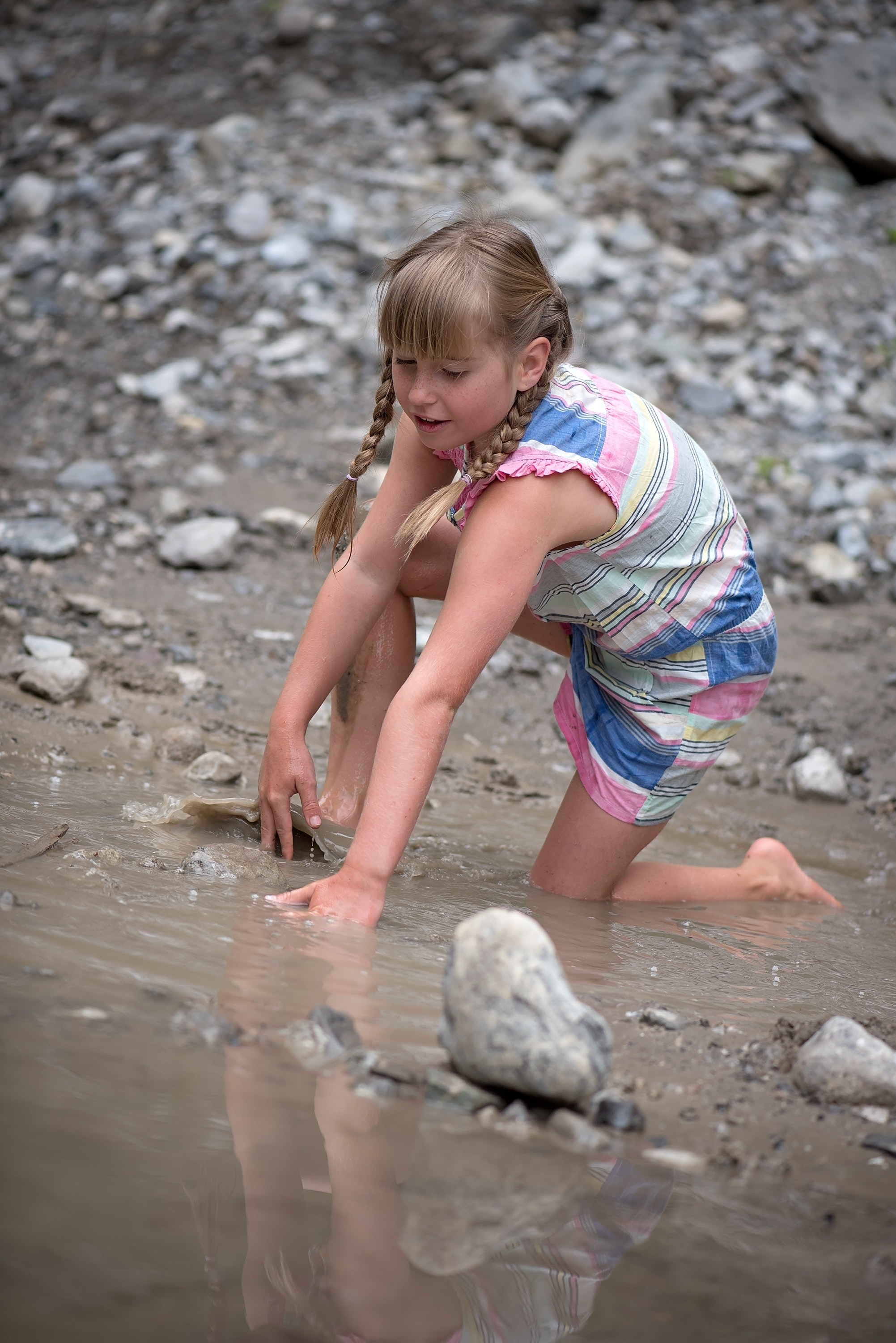 Girl in Pink White and Blue Romper in Body of Water With Gray Rocks, Child, Fun, Girl, Leisure, HQ Photo