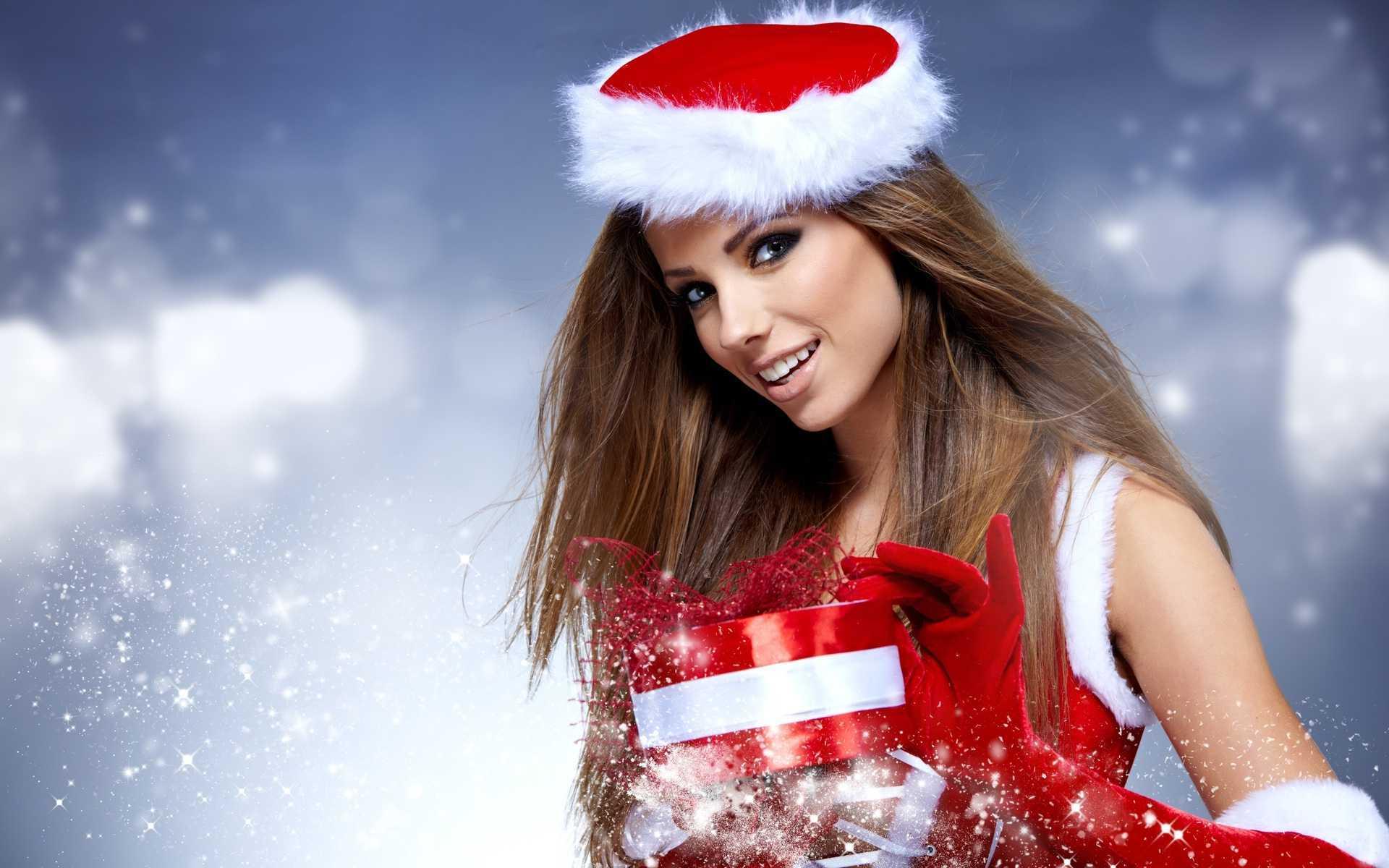Girl on christmas photo