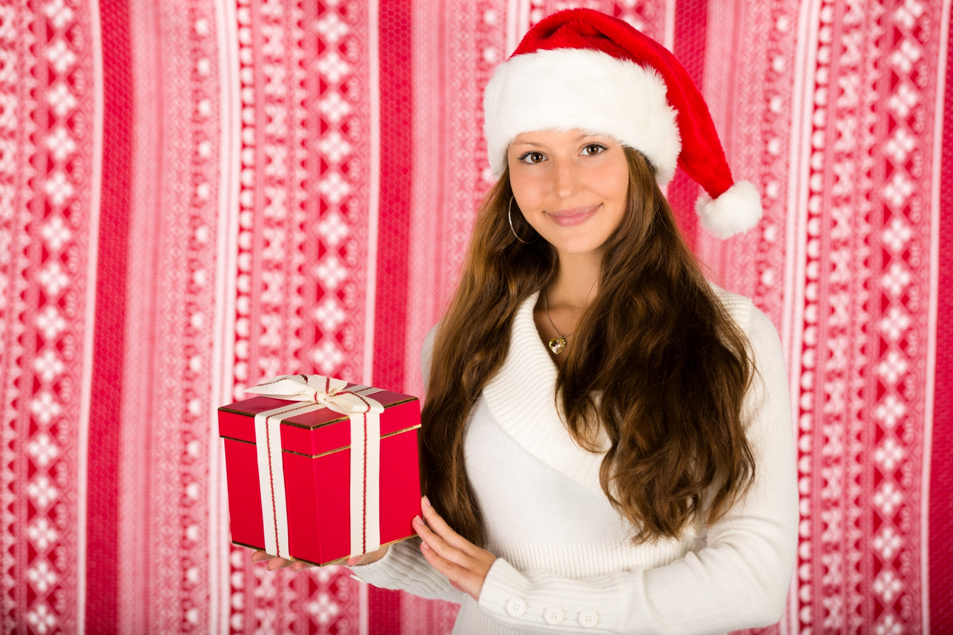 Santa Girl With A Christmas Gift Free Stock Photo - Public Domain ...