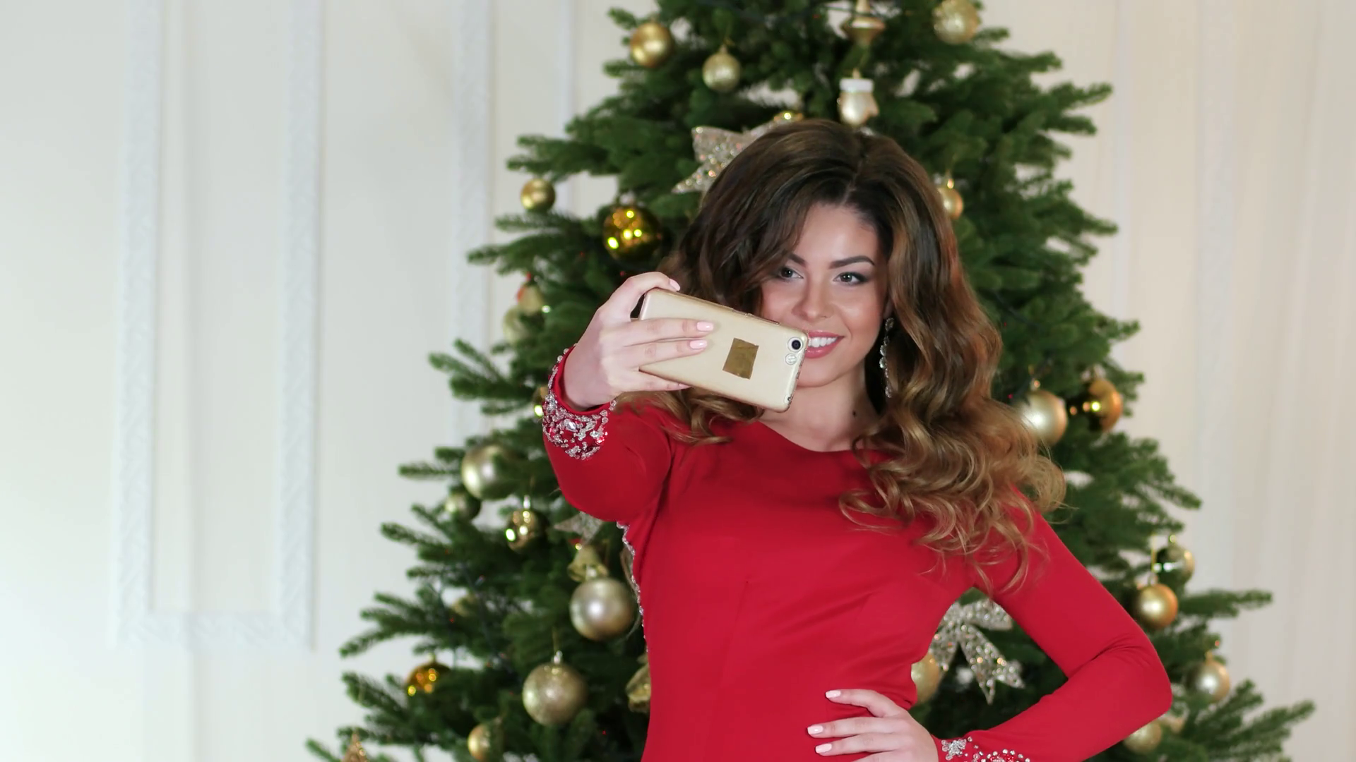New Year's selfie girl photographed themselves on the background of ...