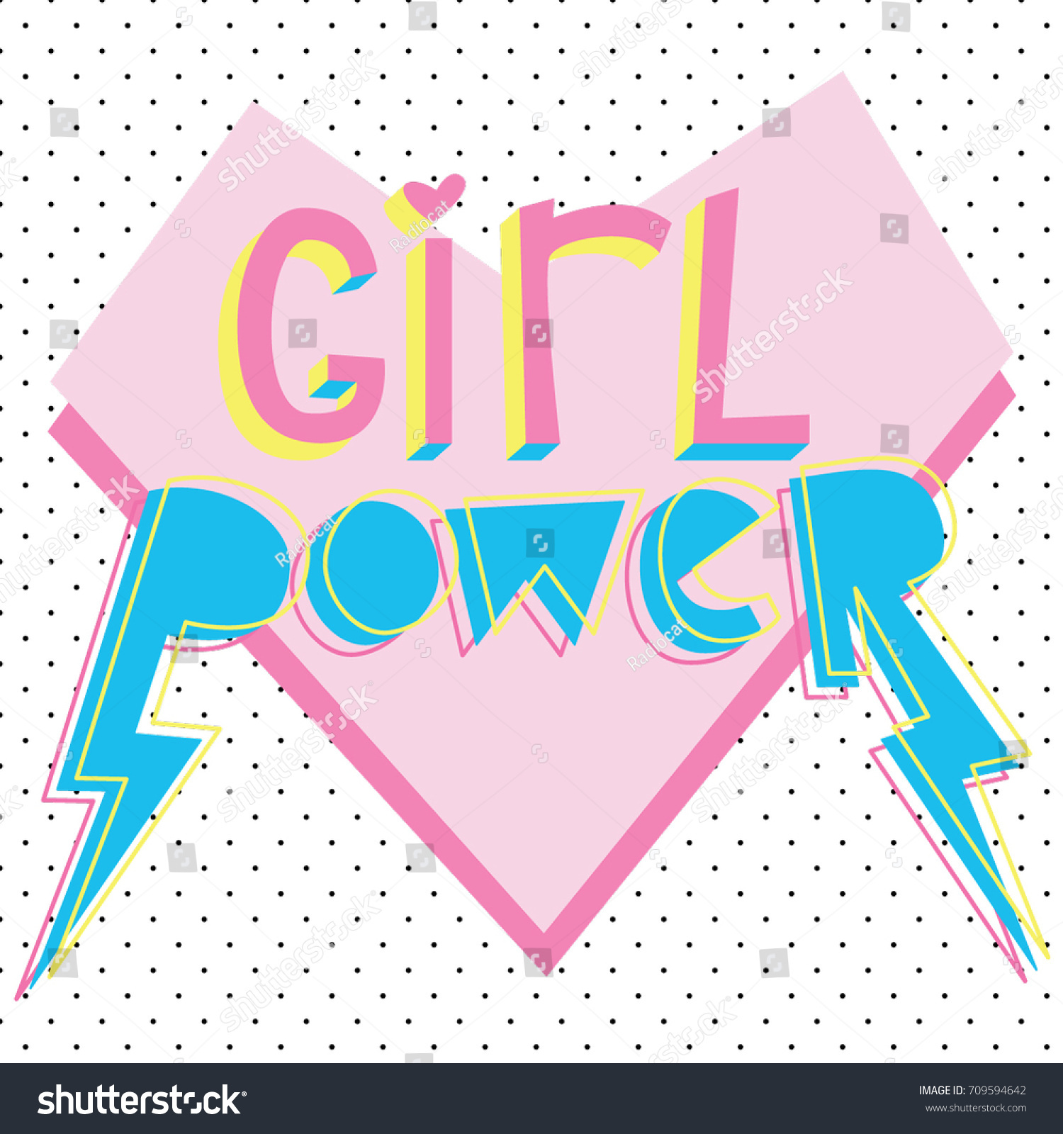 Girl Power Cute Card Bright Graphic Stock Vector 709594642 ...
