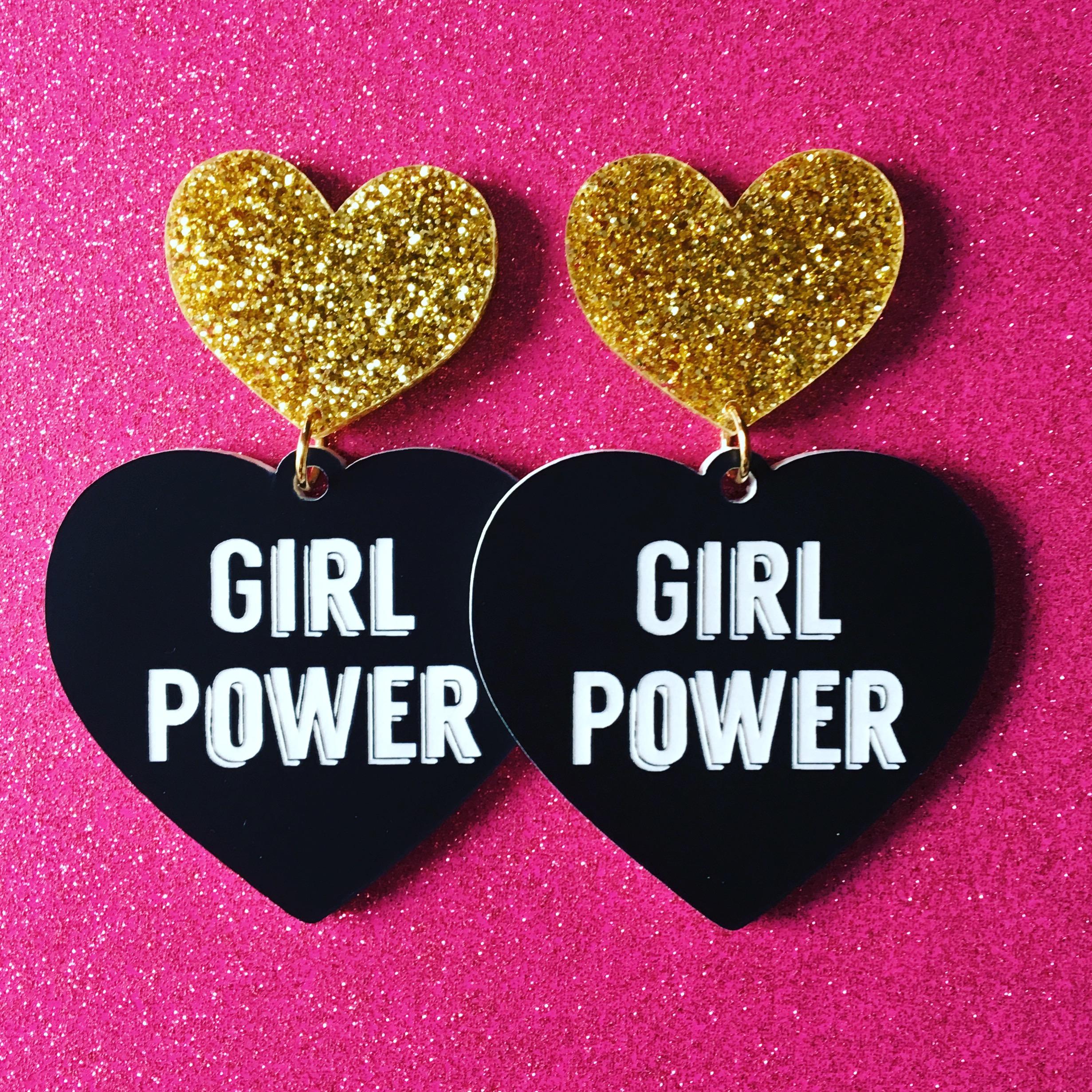 Girl Power Earrings   Haus of Dizzy   Hand made bling