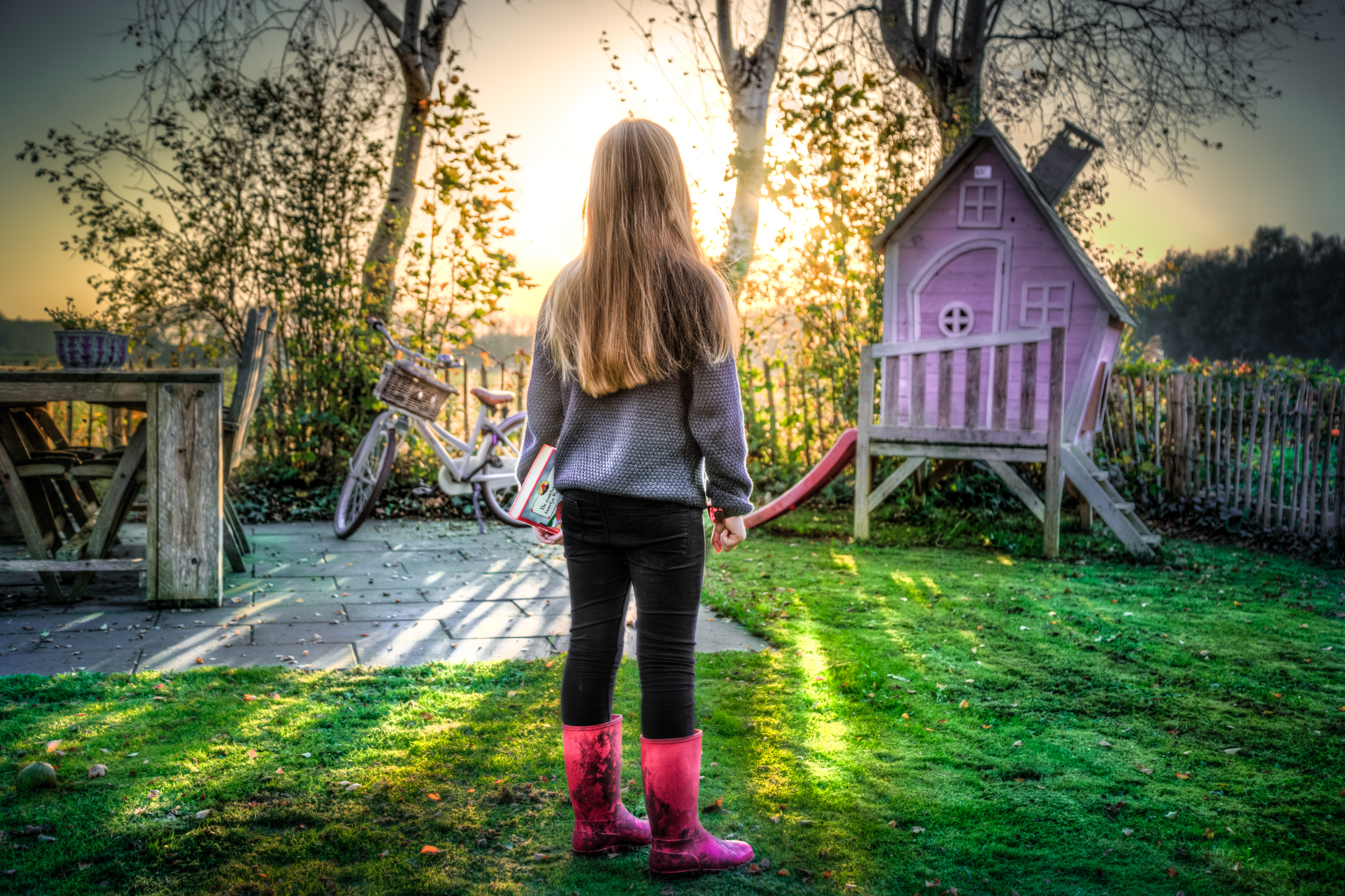 Girl Staring at the Sky, Kid, Young, Yard, Wear, HQ Photo