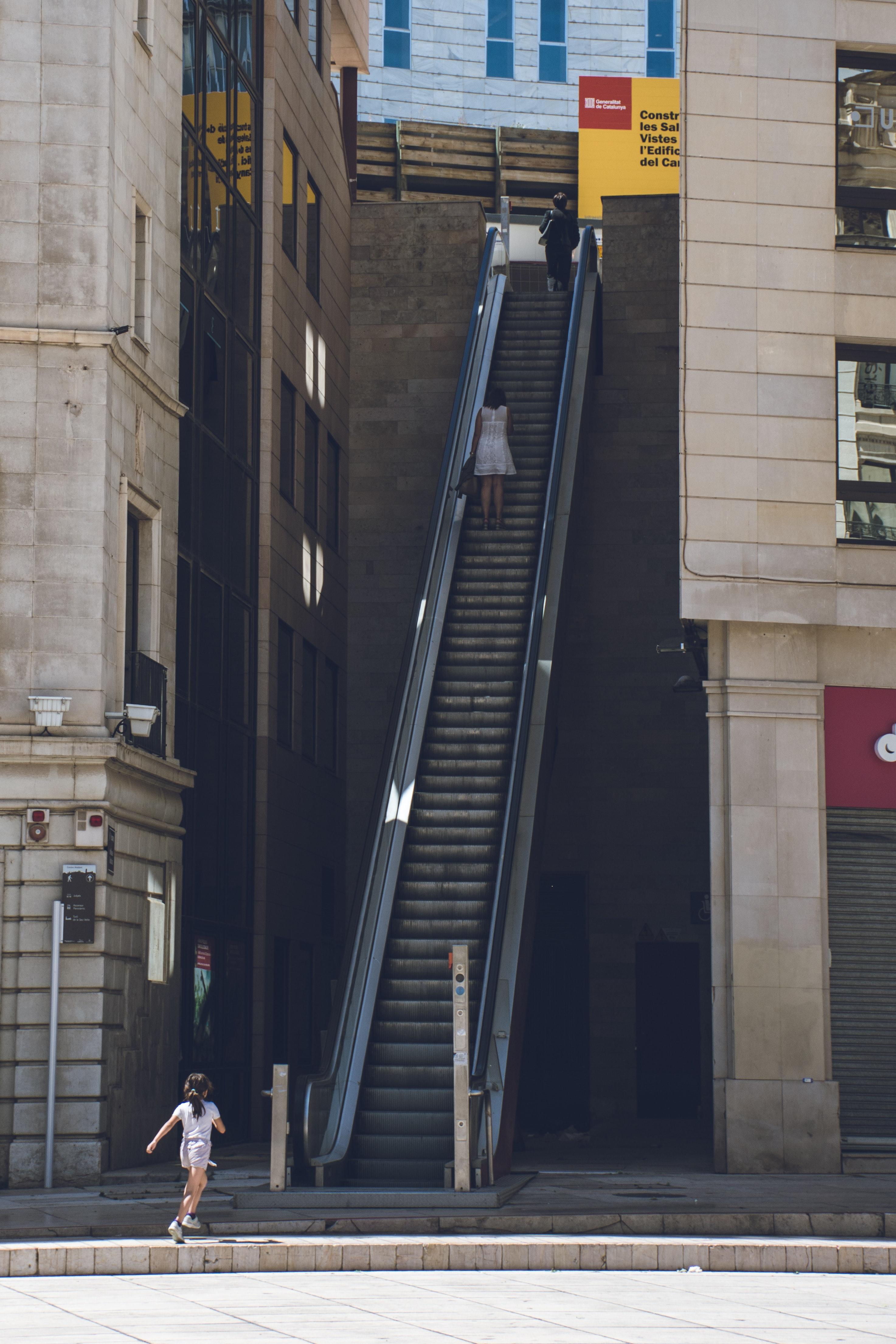Girl Walking Towards the Escalator, Kid, Travel, Town, Summer, HQ Photo