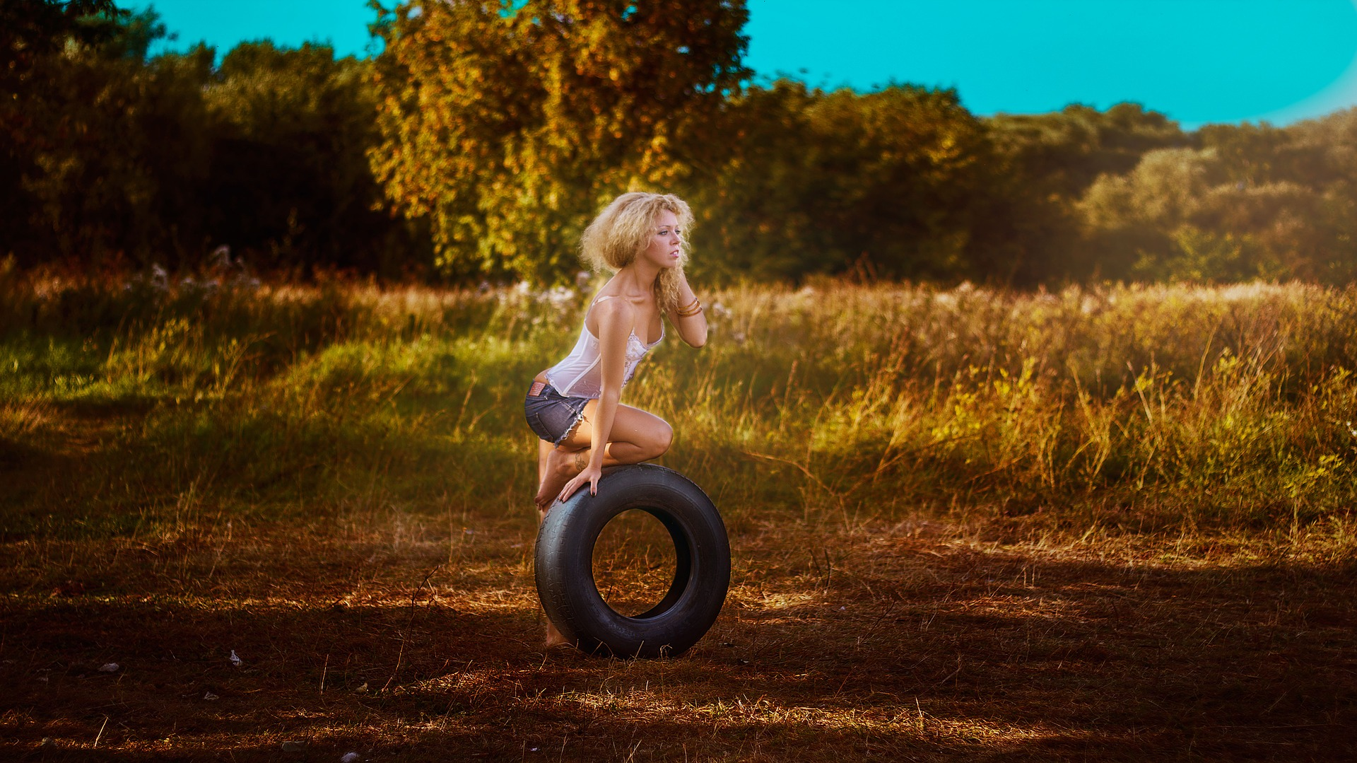 Girl with a wheel photo