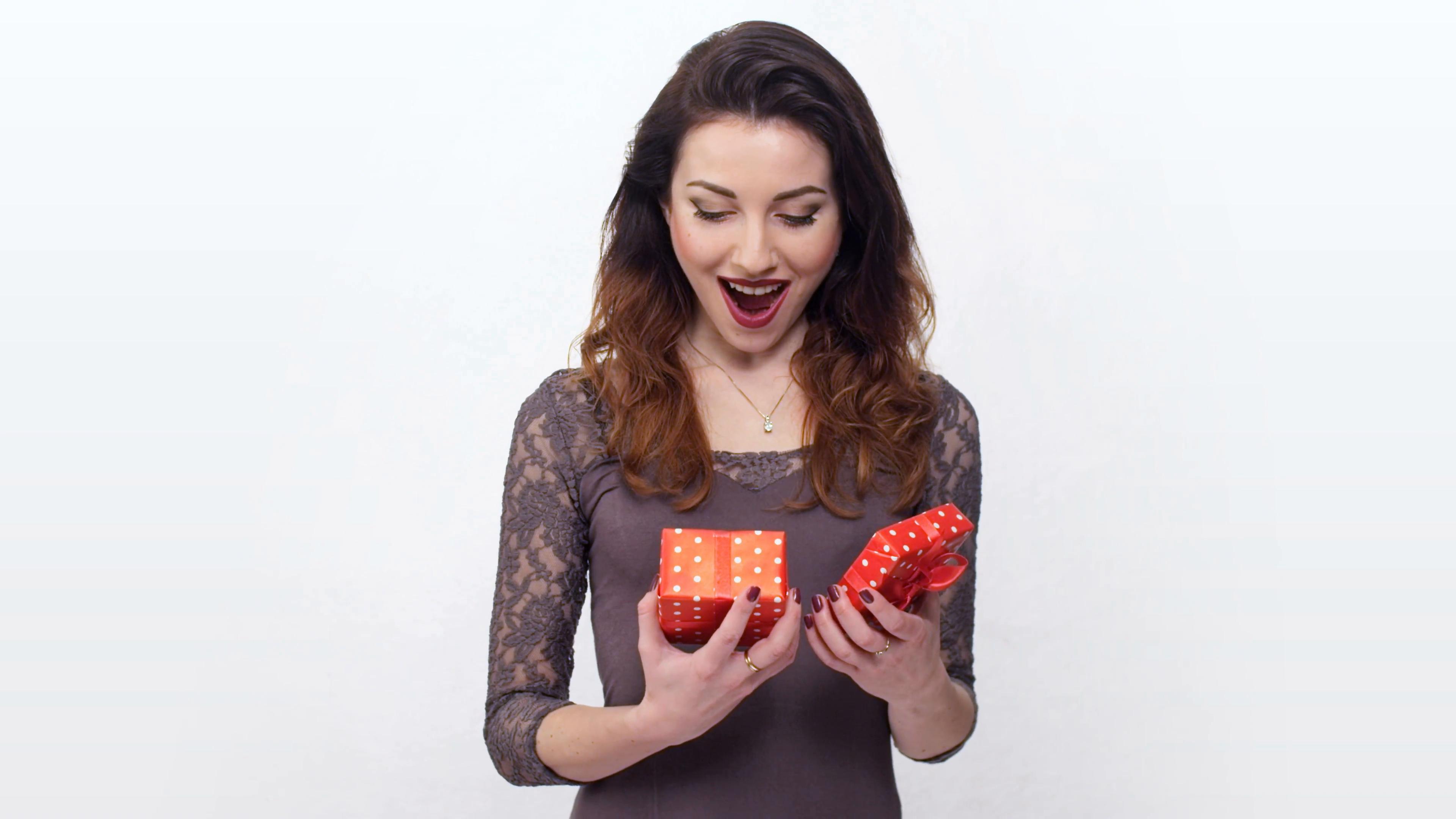 beautiful girl taken by surprise opening gift box Stock Video ...