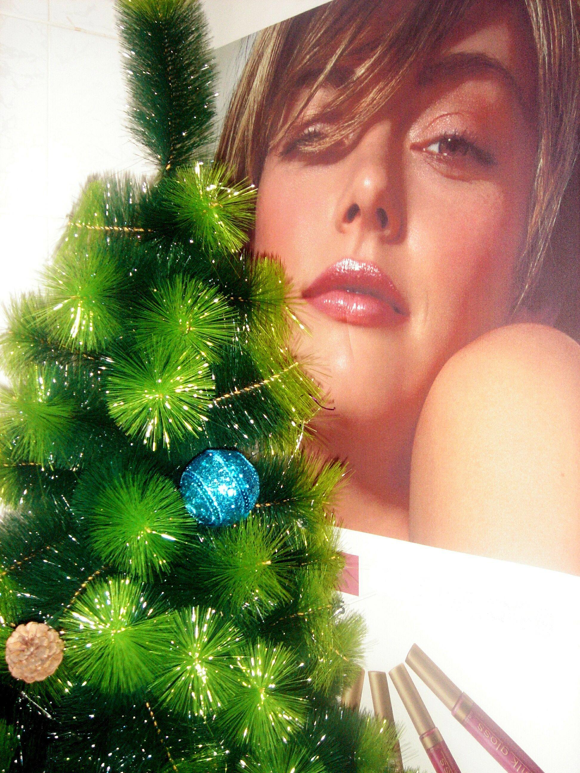 Girl with fir christmas tree photo