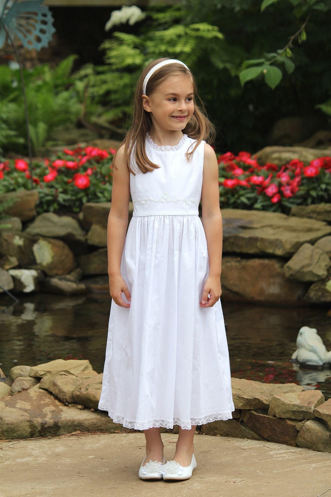 Classic baptism dress White Flower Girl Dress Communion Beach portrait