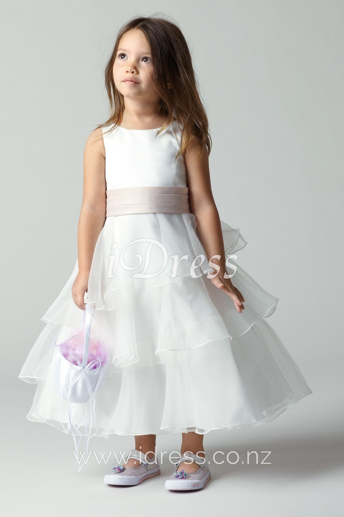 Tiered Tea Length Sleeveless Boat Neck A-line Flower Girl Dress - iDress