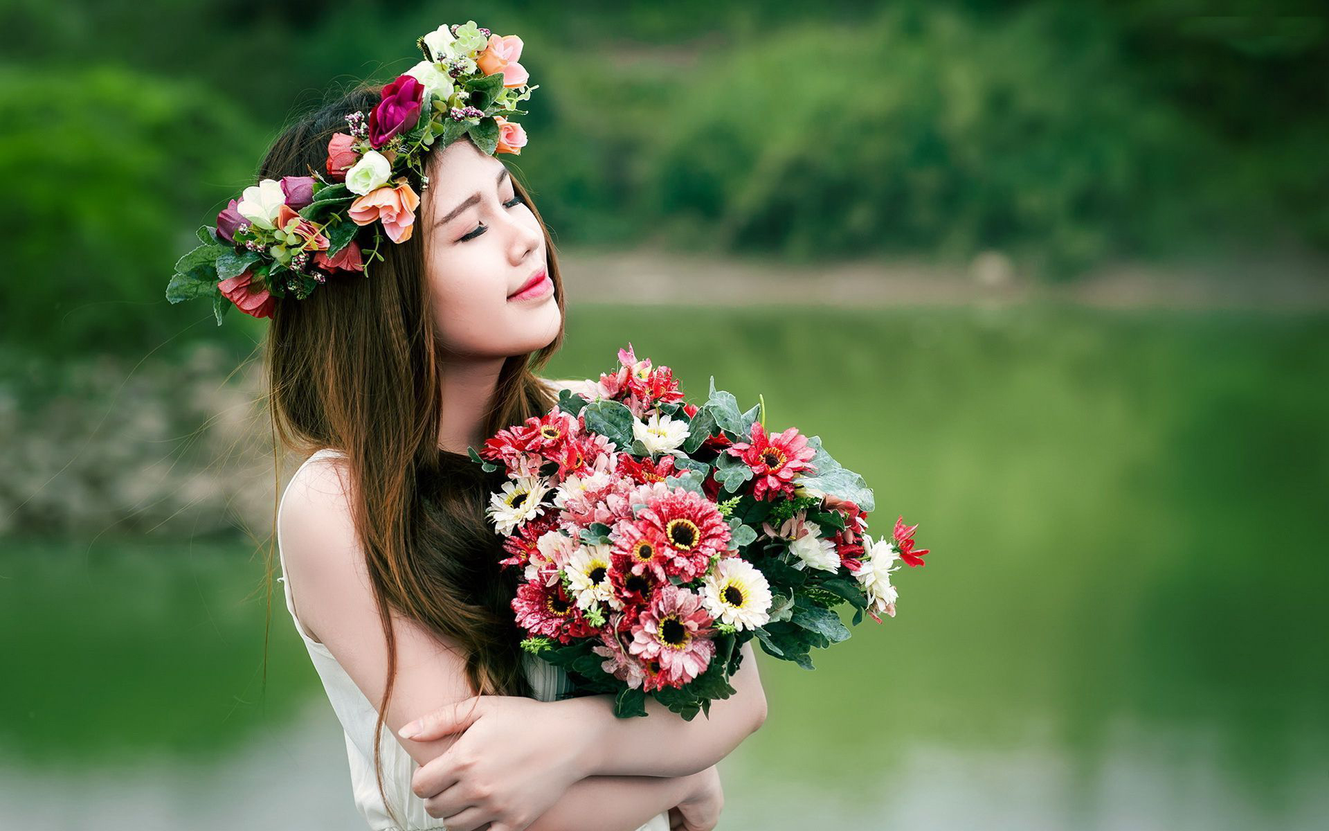 Girls with flowers photo