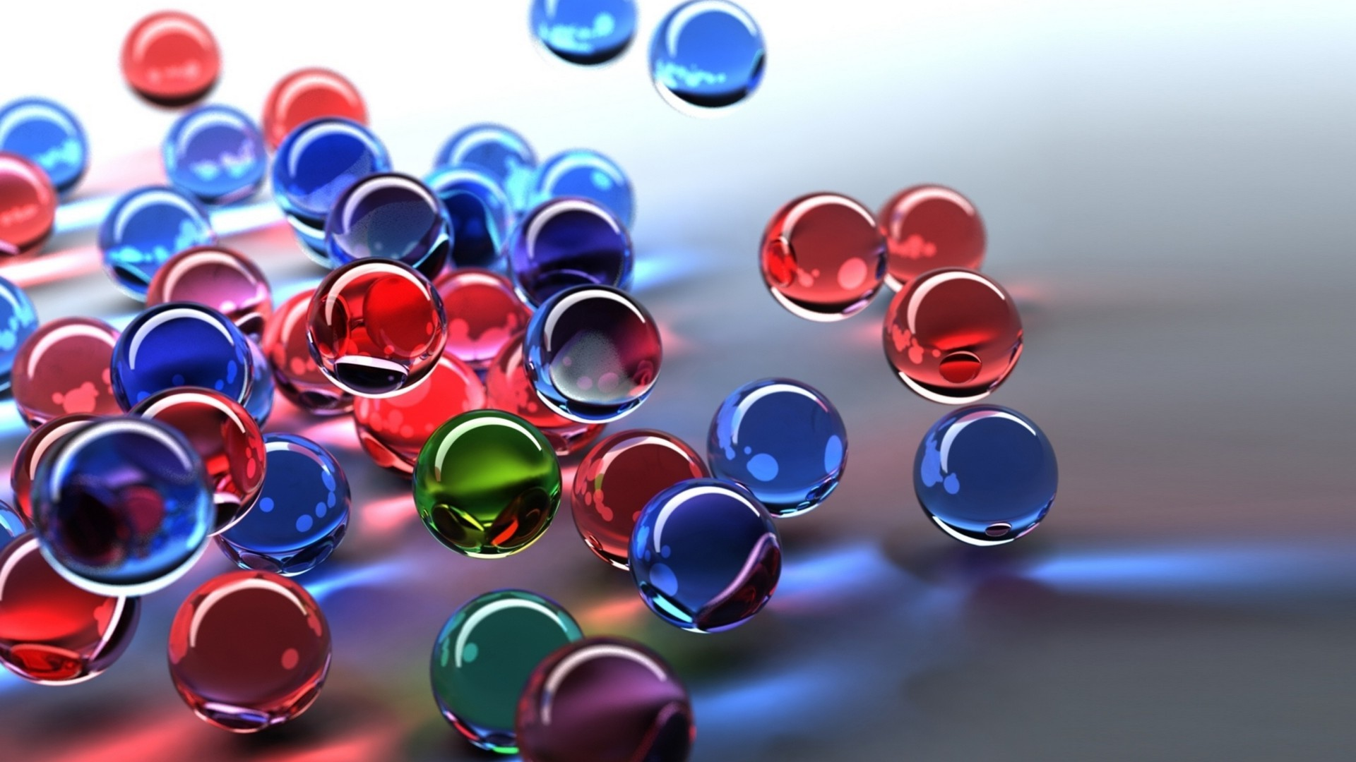 3D Glass Balls Red Blue Green HD Wallpaper - Wallpaper Gallery