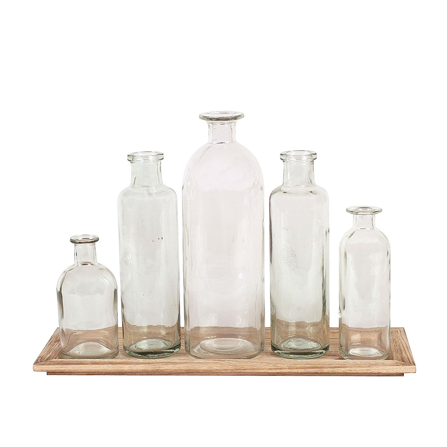 Amazon.com: Creative Co-Op DA2672 Wood Tray with Glass Bottle Vases ...