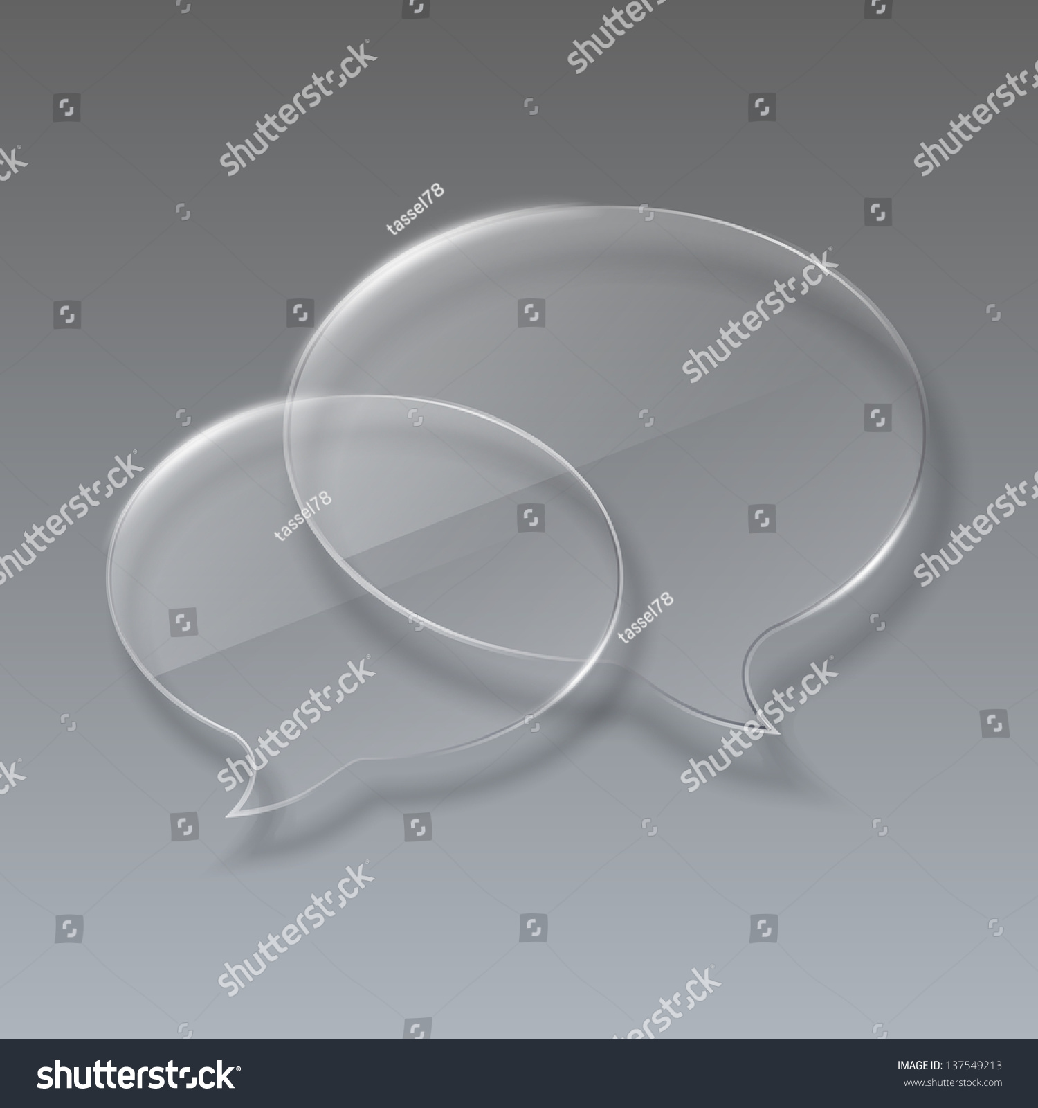 Two Glass Bubbles Speech On Gray Stock Illustration 137549213 ...