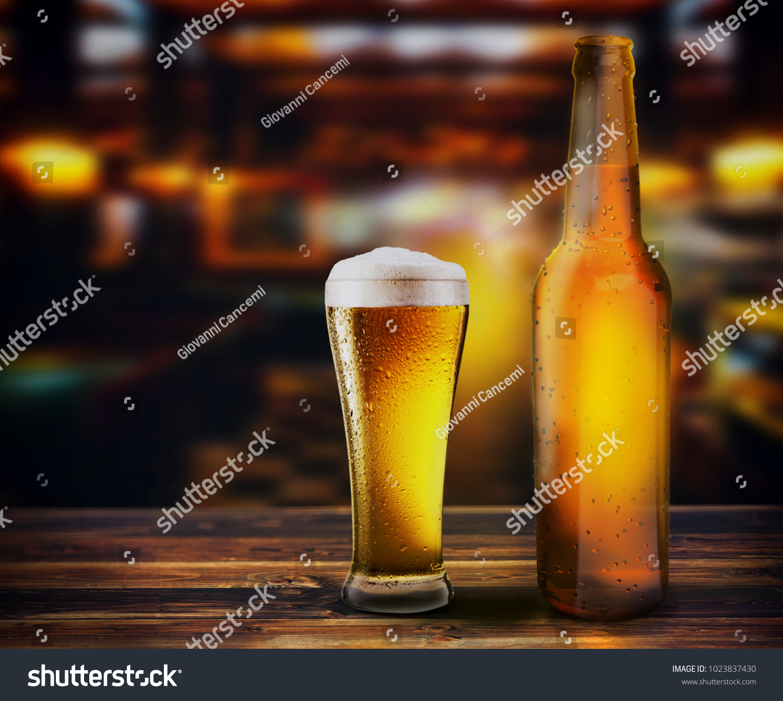Bottle Glass Fresh Beer On Table Stock Illustration 1023837430 ...