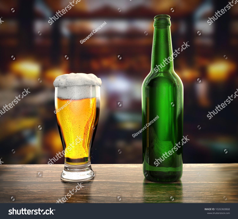 Bottle Glass Fresh Beer On Table Stock Illustration 1026360868 ...