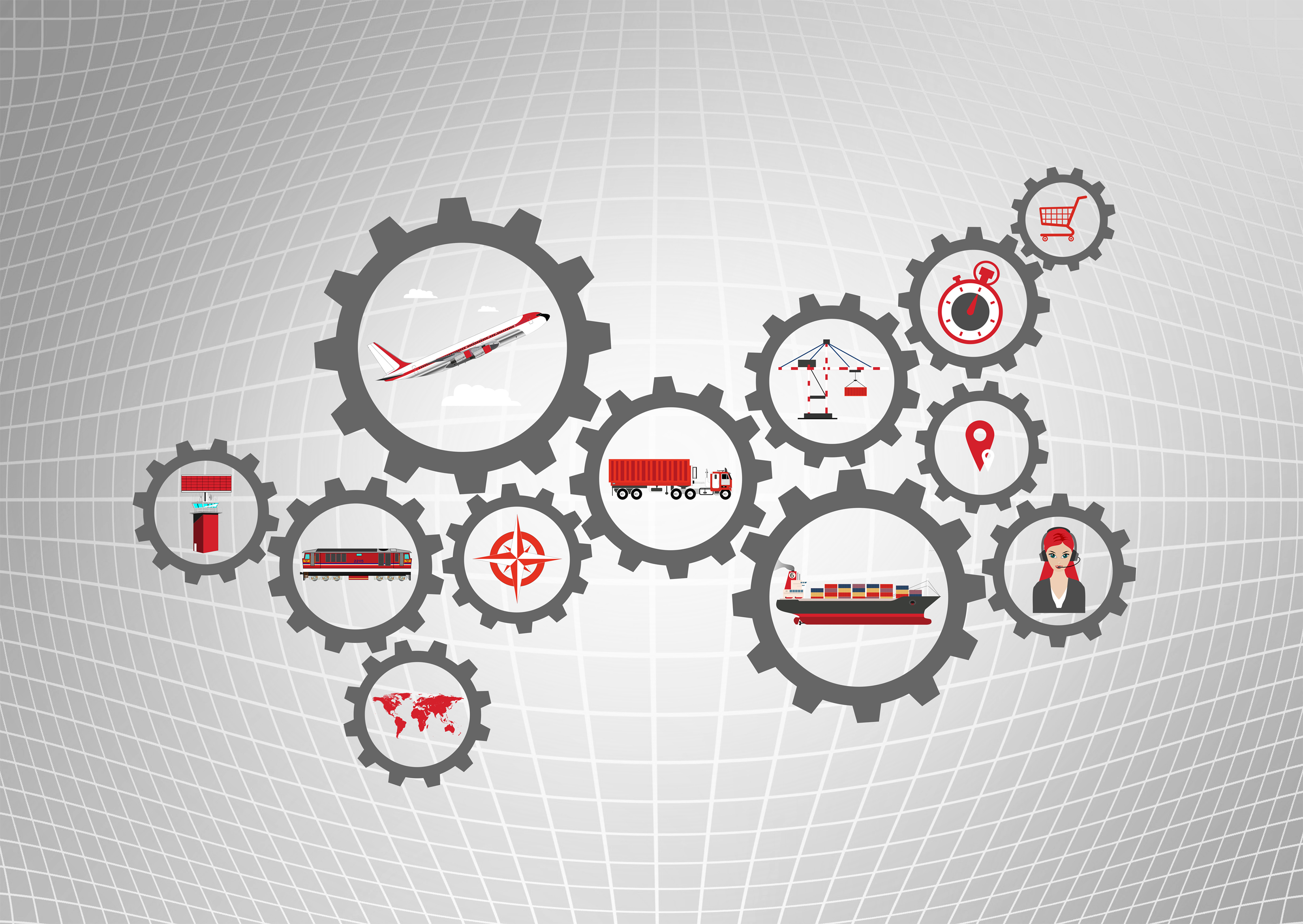 Global logistics concept with transport industry icons photo