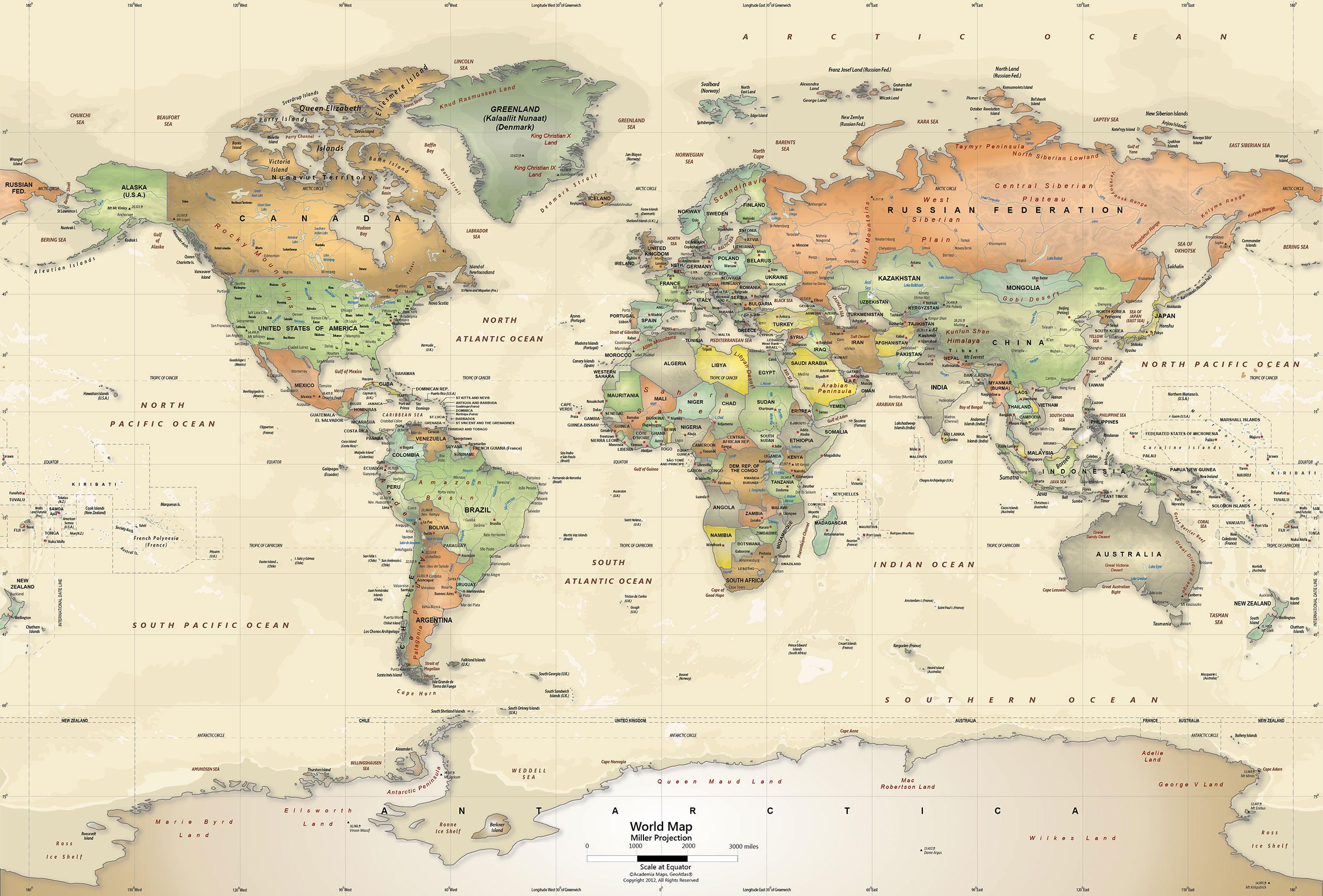 World Map Wall Mural - Antique Oceans Political