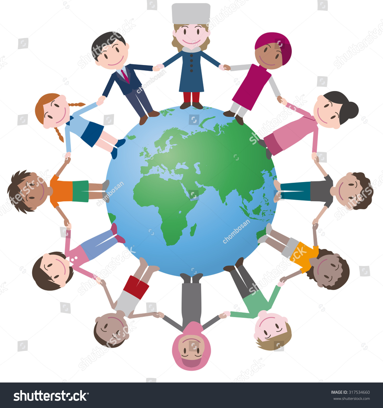 Multicultural People Around Earth Holding Hands Stock Vector HD ...