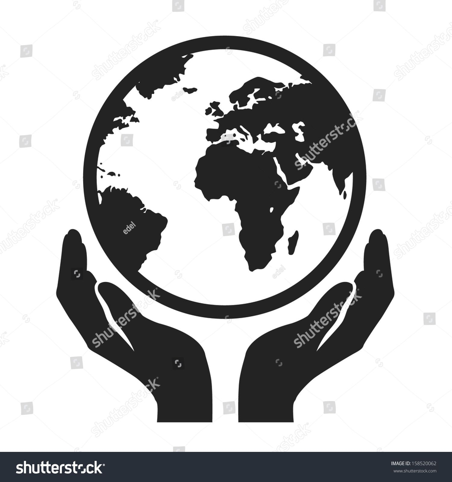 hands holding globe earth web black icon. save earth concept vector ...