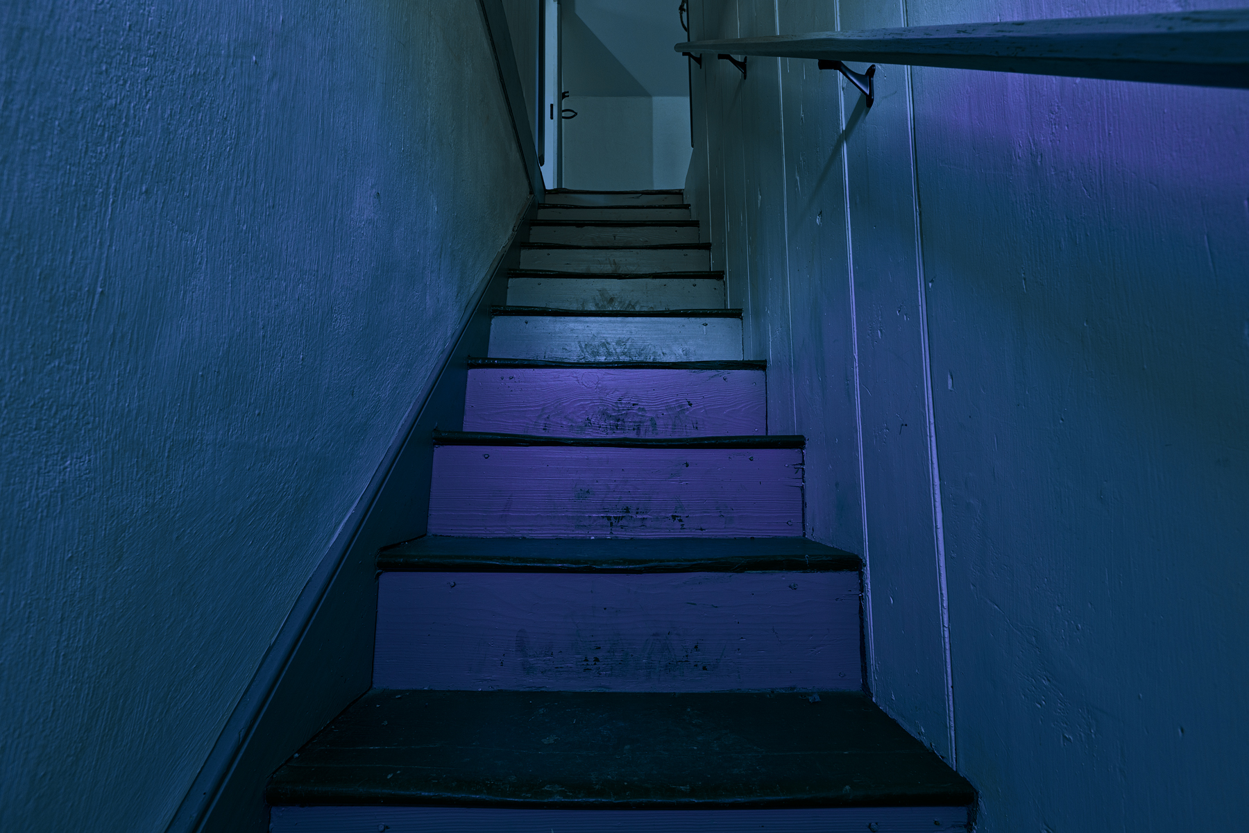 Gloomy lockhouse staircase - hdr photo