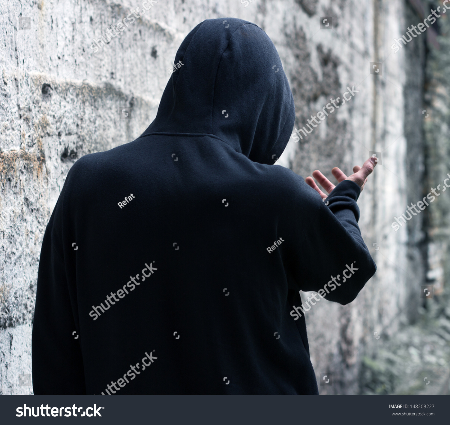 Gloomy Man Hood On Street Stock Photo 148203227 - Shutterstock