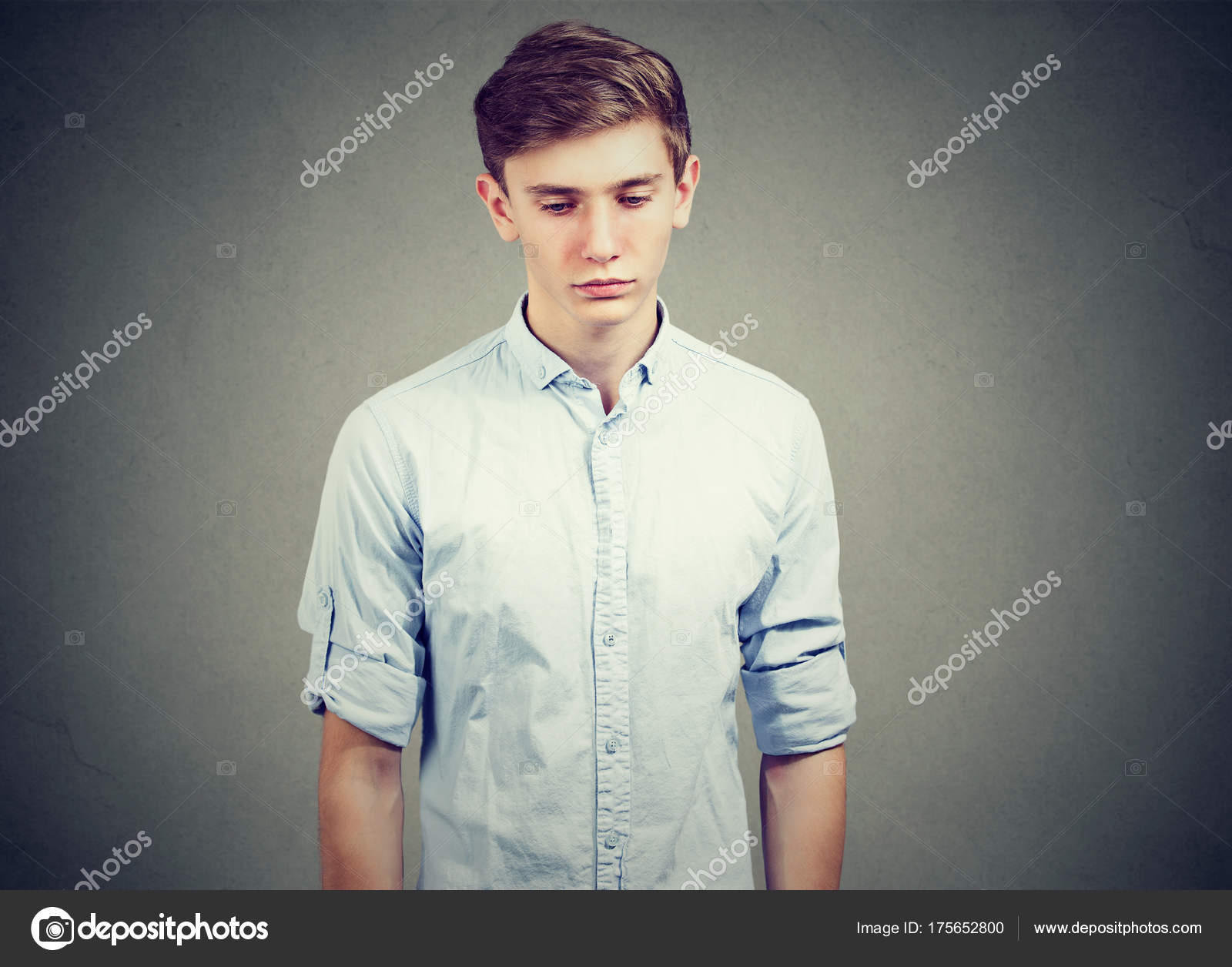 Closeup of a sad gloomy man looking down — Stock Photo ...