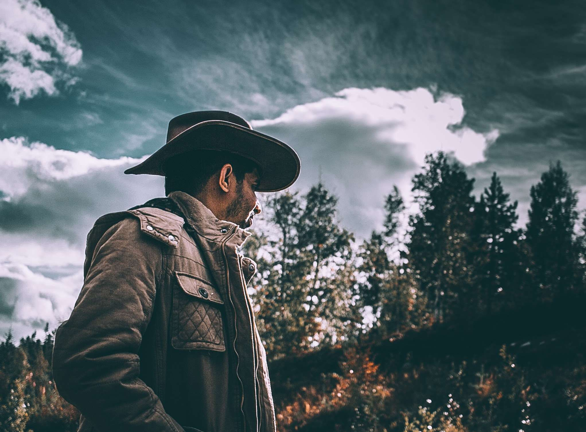 adult #clouds #cowboy #dark #daylight #fall #fashion #forest #gloomy ...