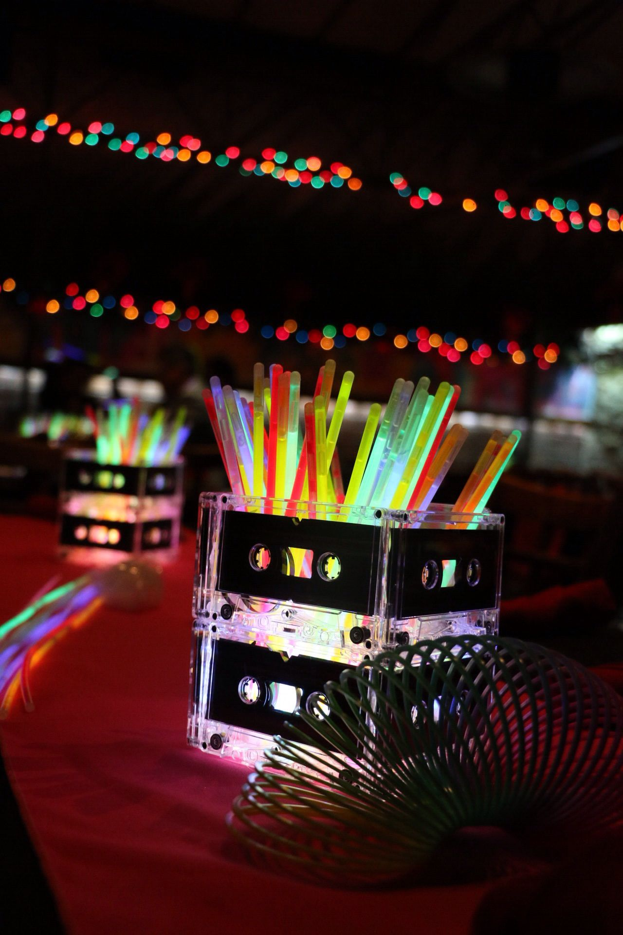 80s centerpieces. Glow sticks and cassette tApes | Mimi's 80's ...