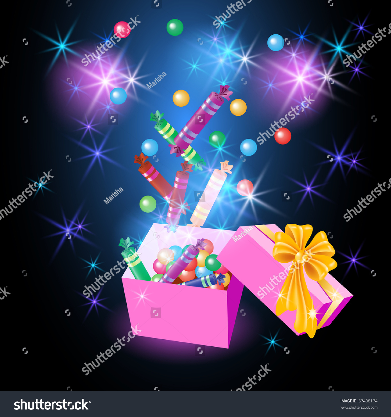 Christmas Glowing Gift Box Candy Yellow Stock Illustration 67408174 ...