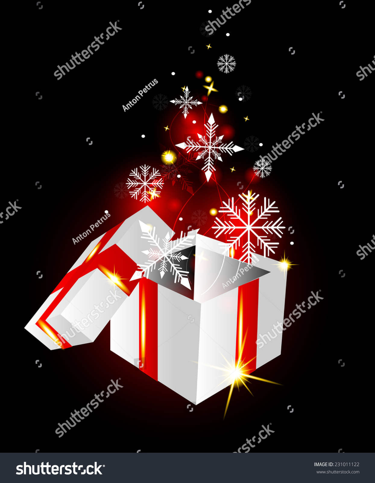 Open Gift Box Snowflakes On Glowing Stock Vector (2018) 231011122 ...