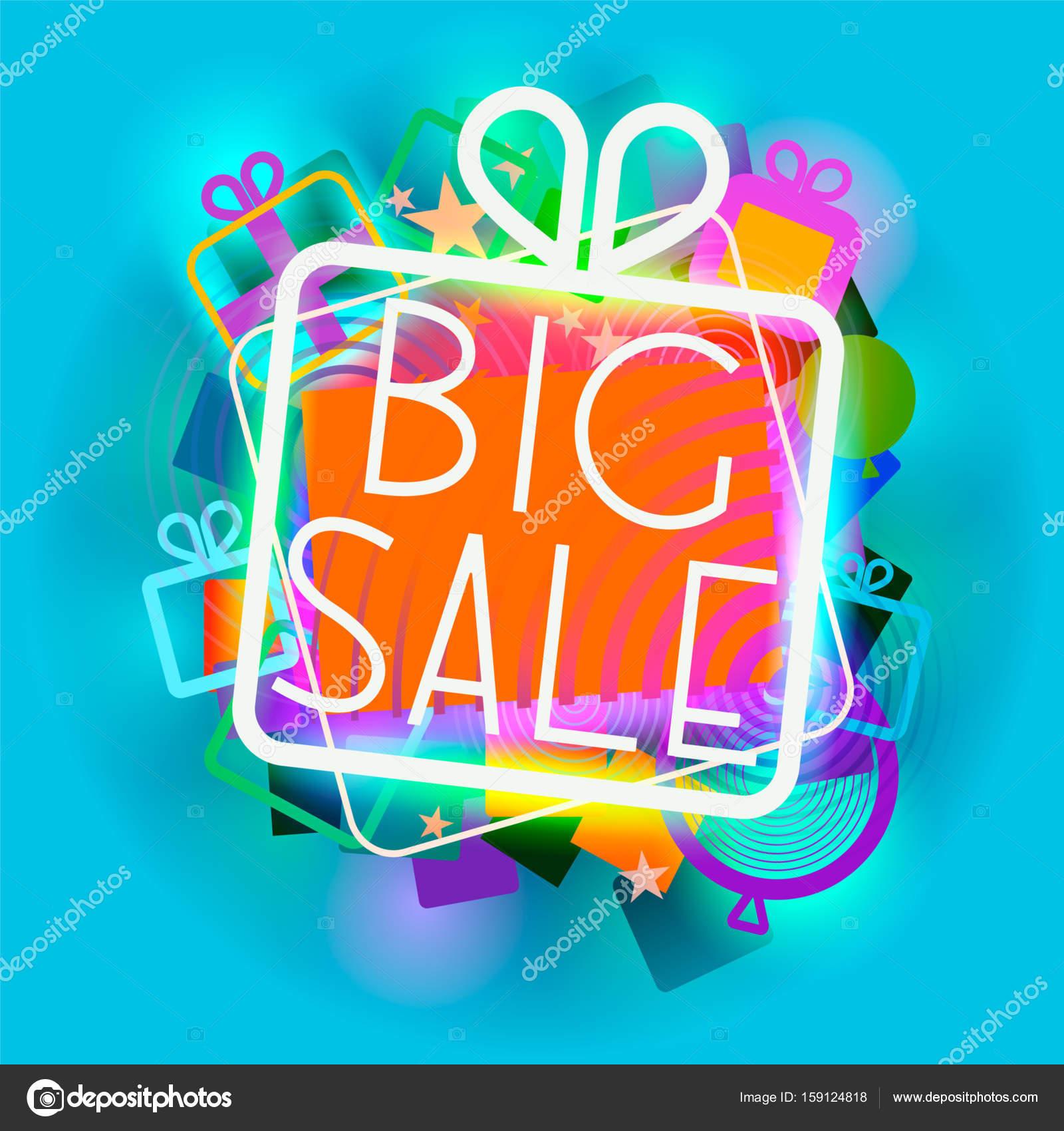 Glowing giftbox with big sale words — Stock Photo © reimuss #159124818