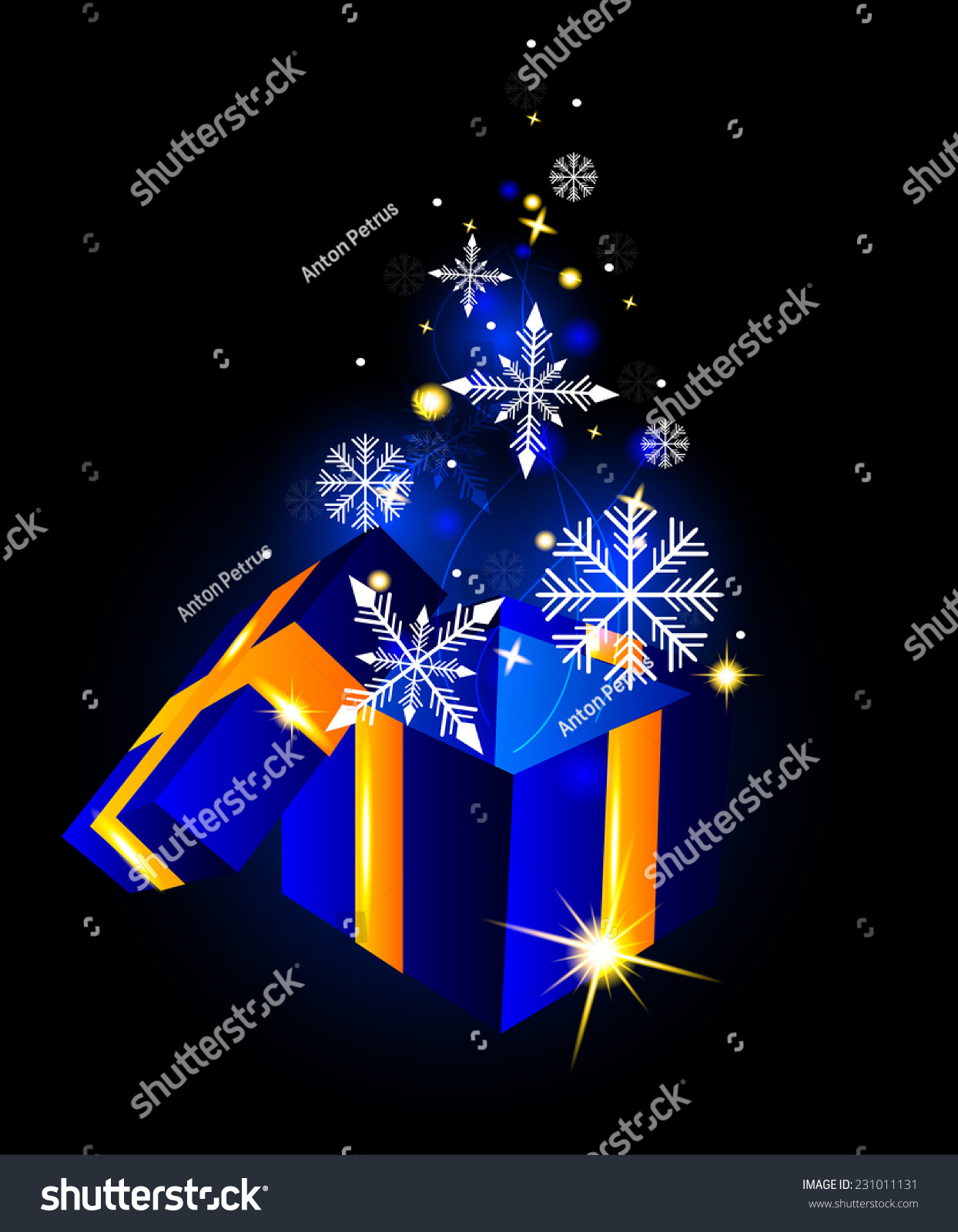 Open Gift Box Snowflakes On Glowing Stock Vector 231011131 ...