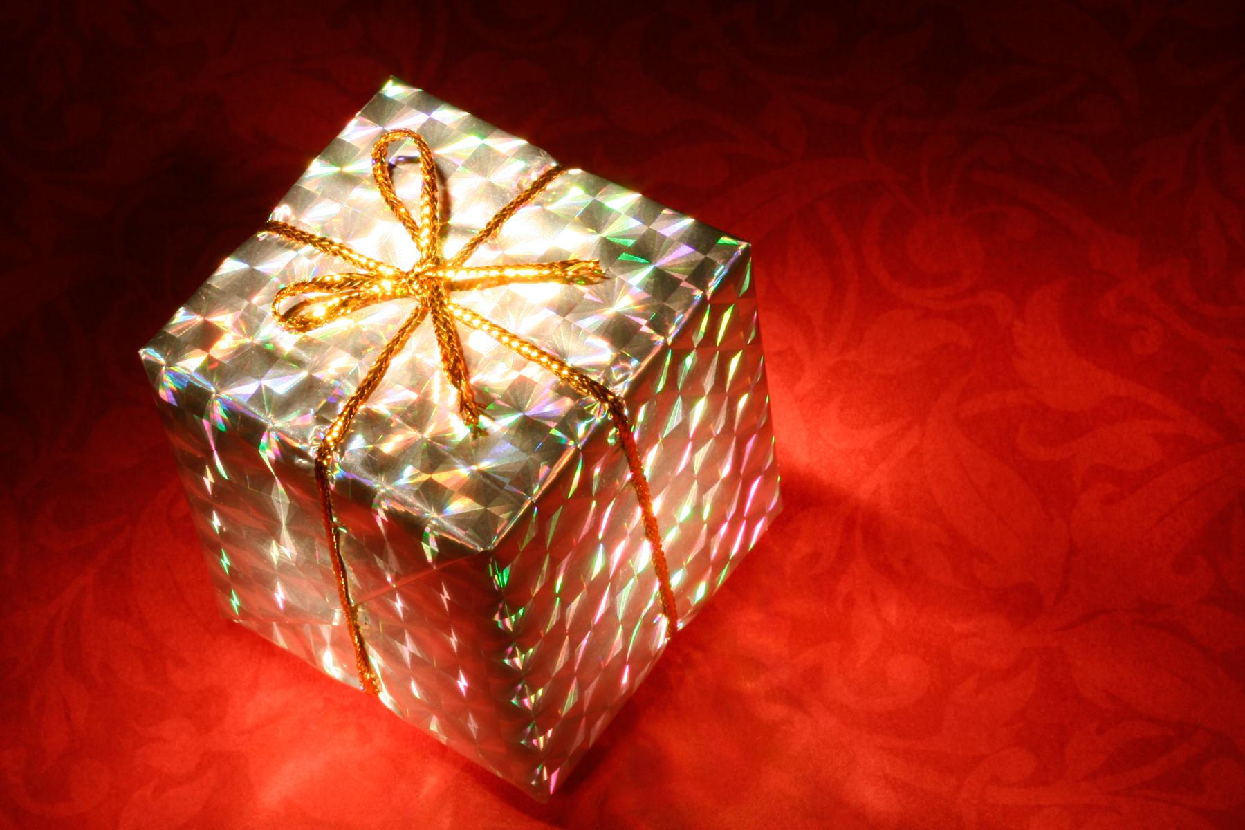 Glowing Gift Box, Black, Resource, Object, Ornament, HQ Photo