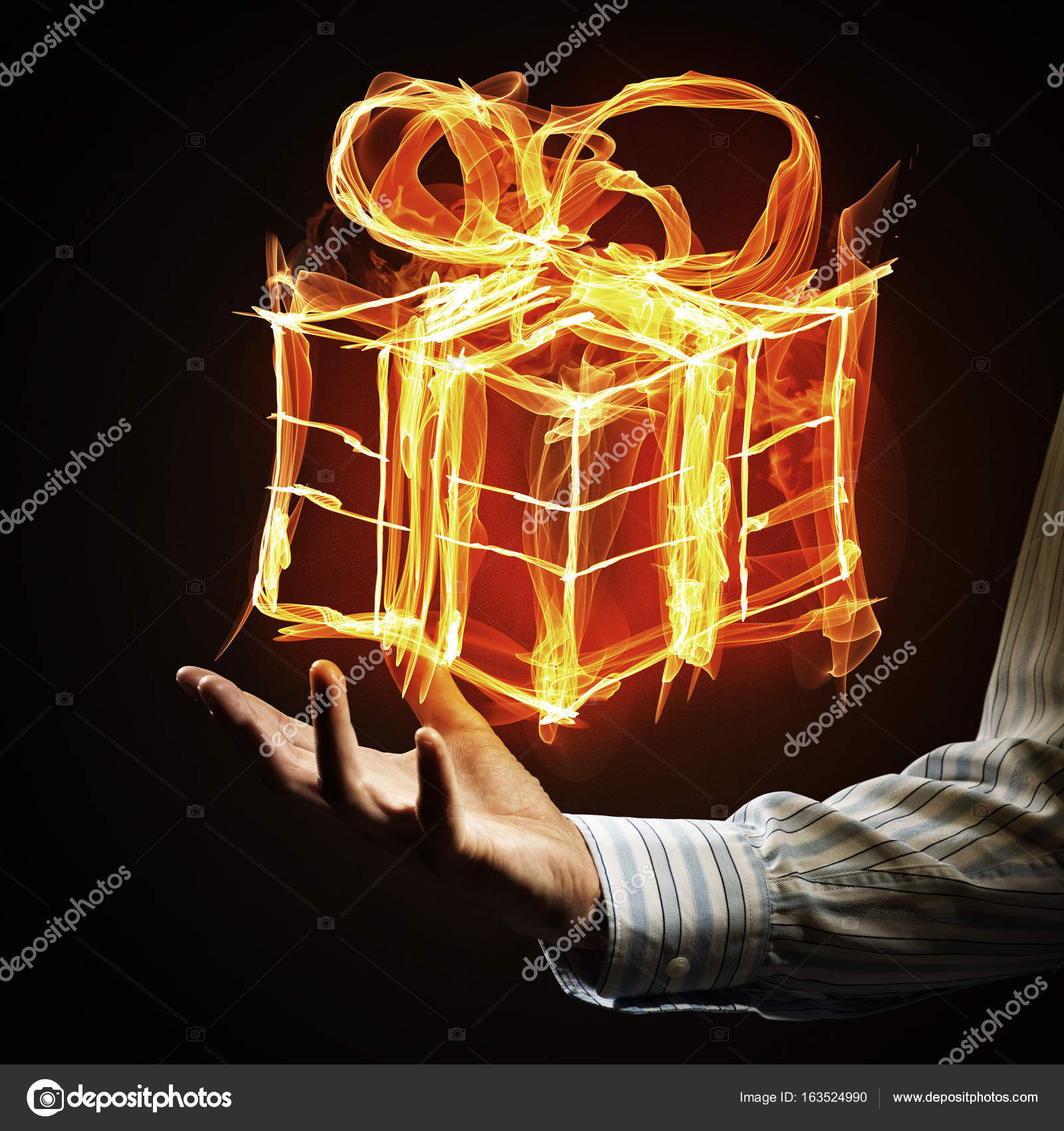 Glowing gift box icon with palm — Stock Photo © Khakimullin #163524990