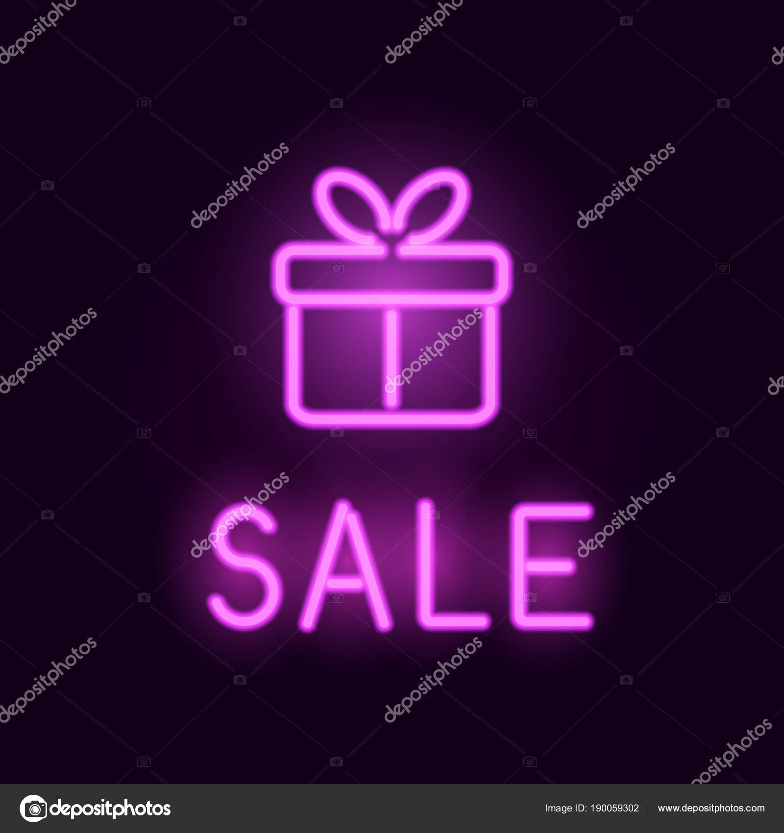 Vector neon sale card with glowing gift box — Stock Vector ...