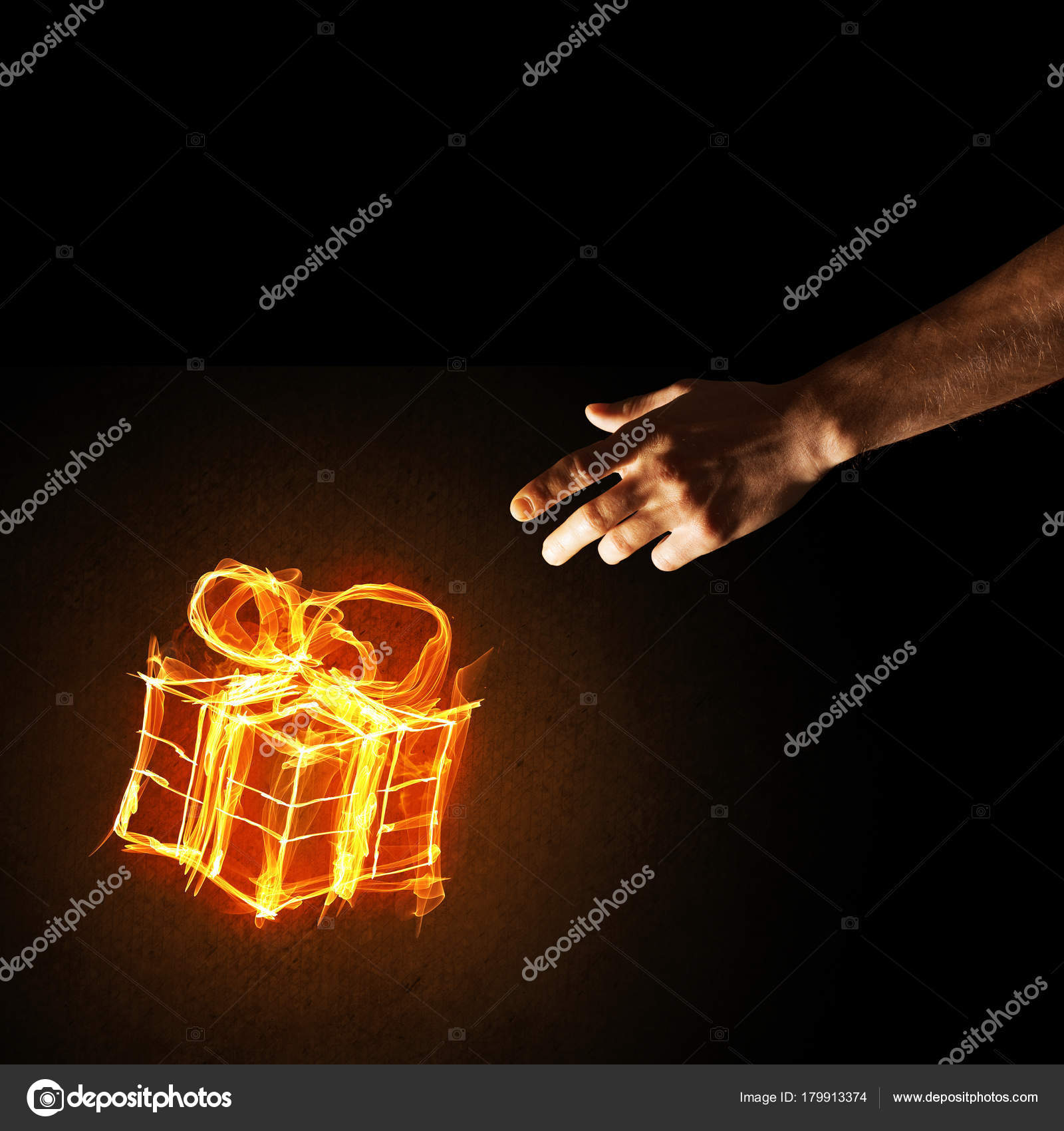 Glowing Fire Gift Box Icon Palm Dark Background — Stock Photo ...